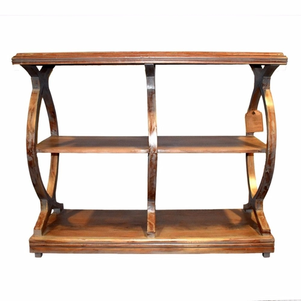 Antique Style Wooden Console Table With 2 Shelves Brown Free Shipping Today 19287931