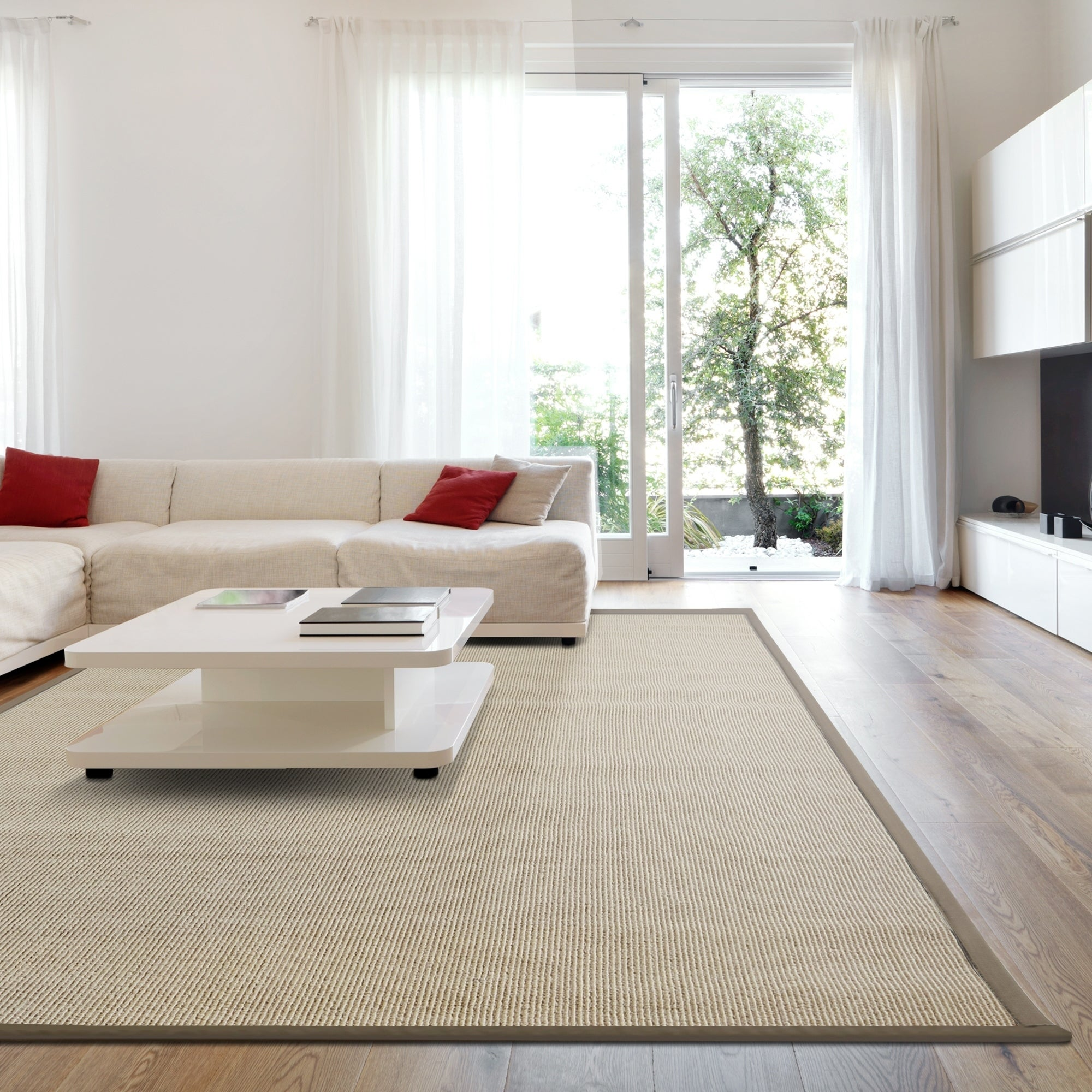Shop iCustomRug Soft Synthetic Sisal With Beautiful Border in Beige ...