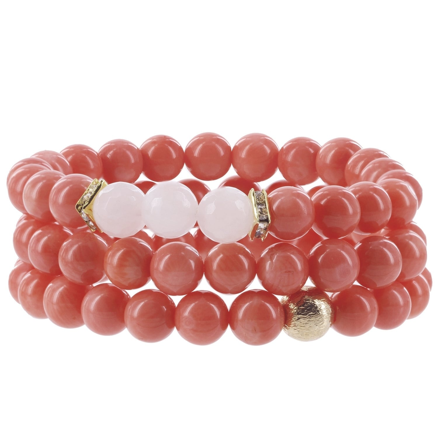Shop Fox and Baubles Eco-friendly Coral, Rose Quartz, Brass Bead and ...