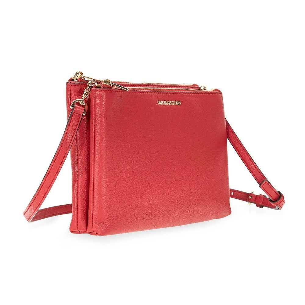 1b322087830b Shop Michael Kors Adele Double Zip Burnt Red Crossbody Handbag - Free  Shipping Today - Overstock - 19295589