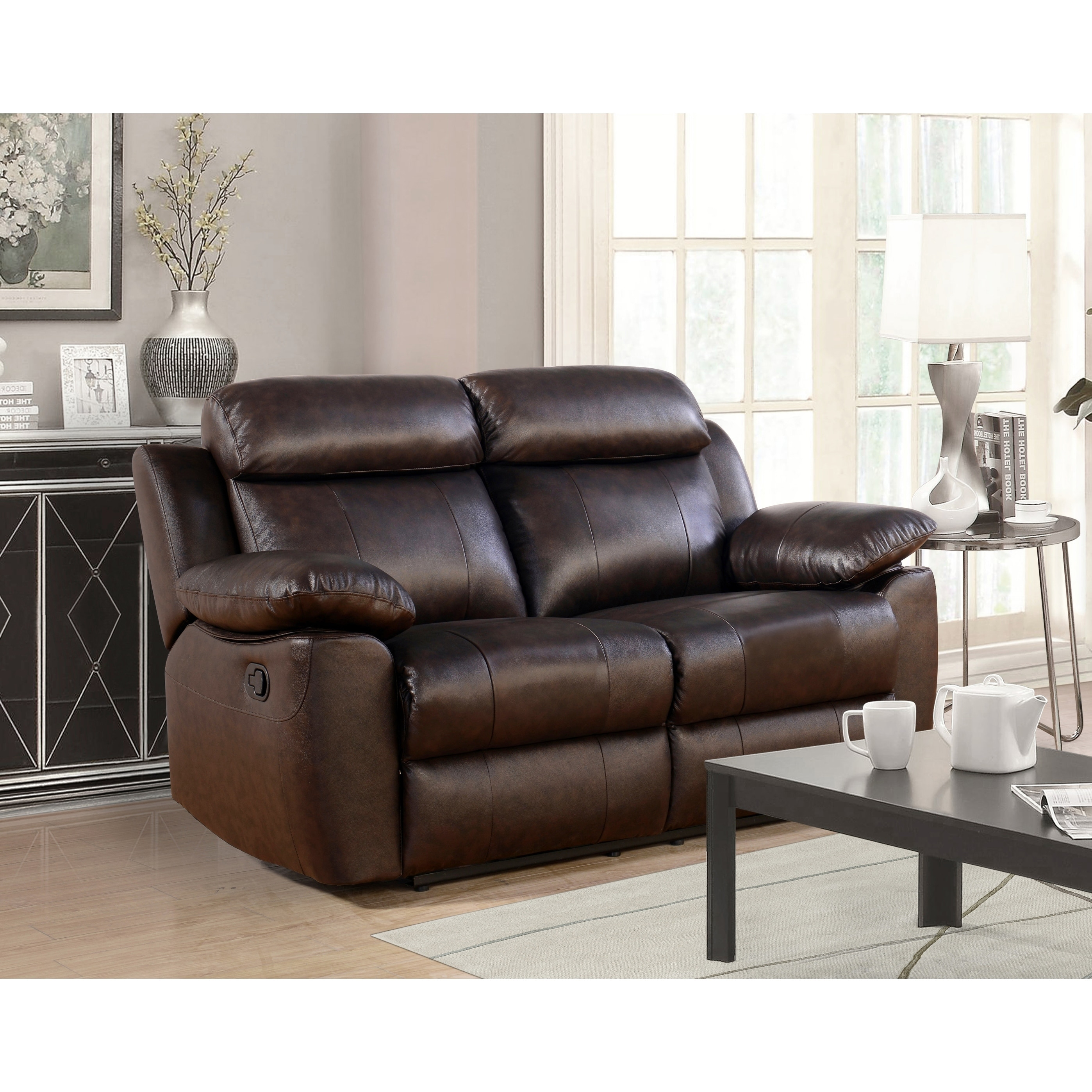ae leather pushback home dp amazon reclining com abbyson loveseat kitchen durham