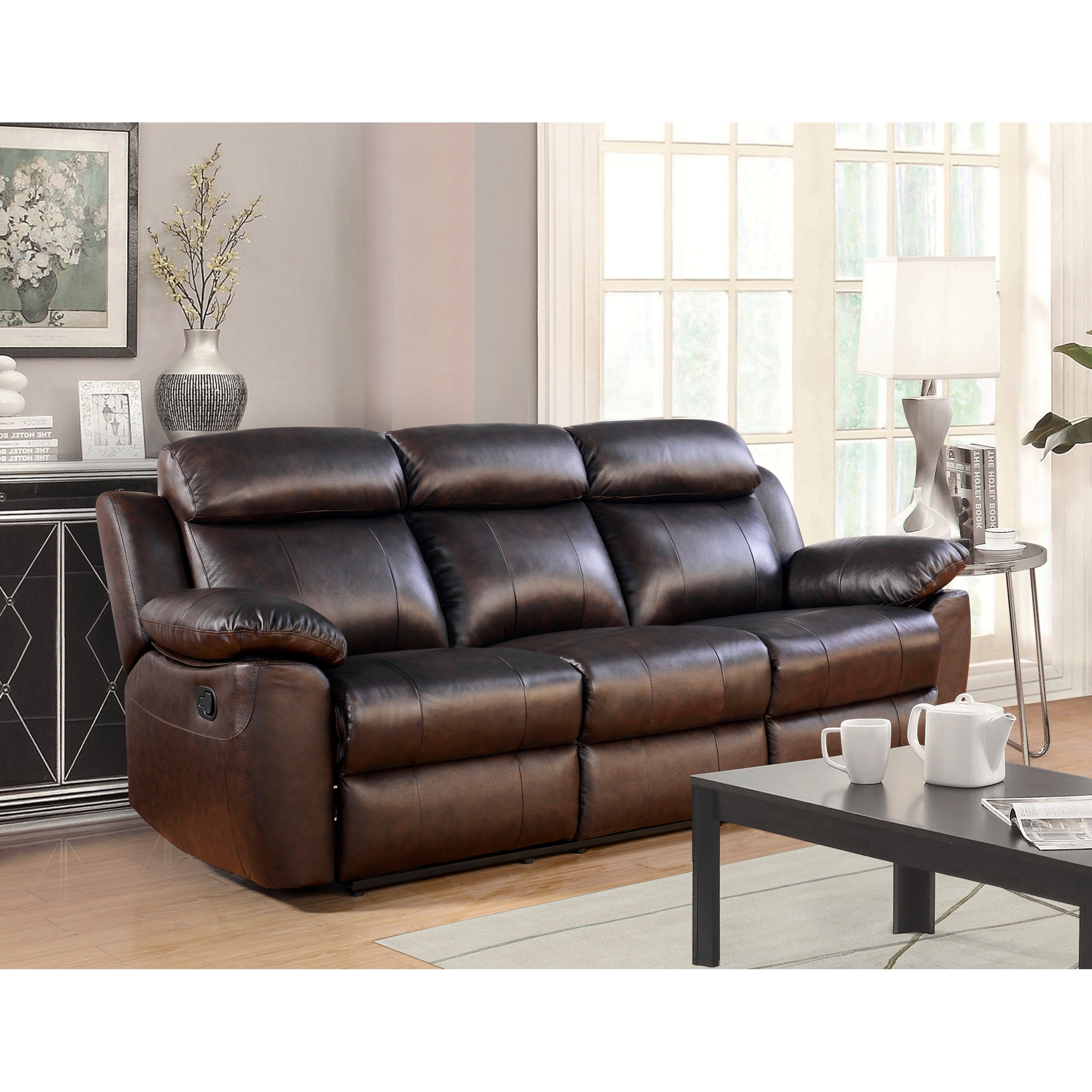 Shop Abbyson Braylen Top Grain Leather Reclining Sofa - On Sale ...