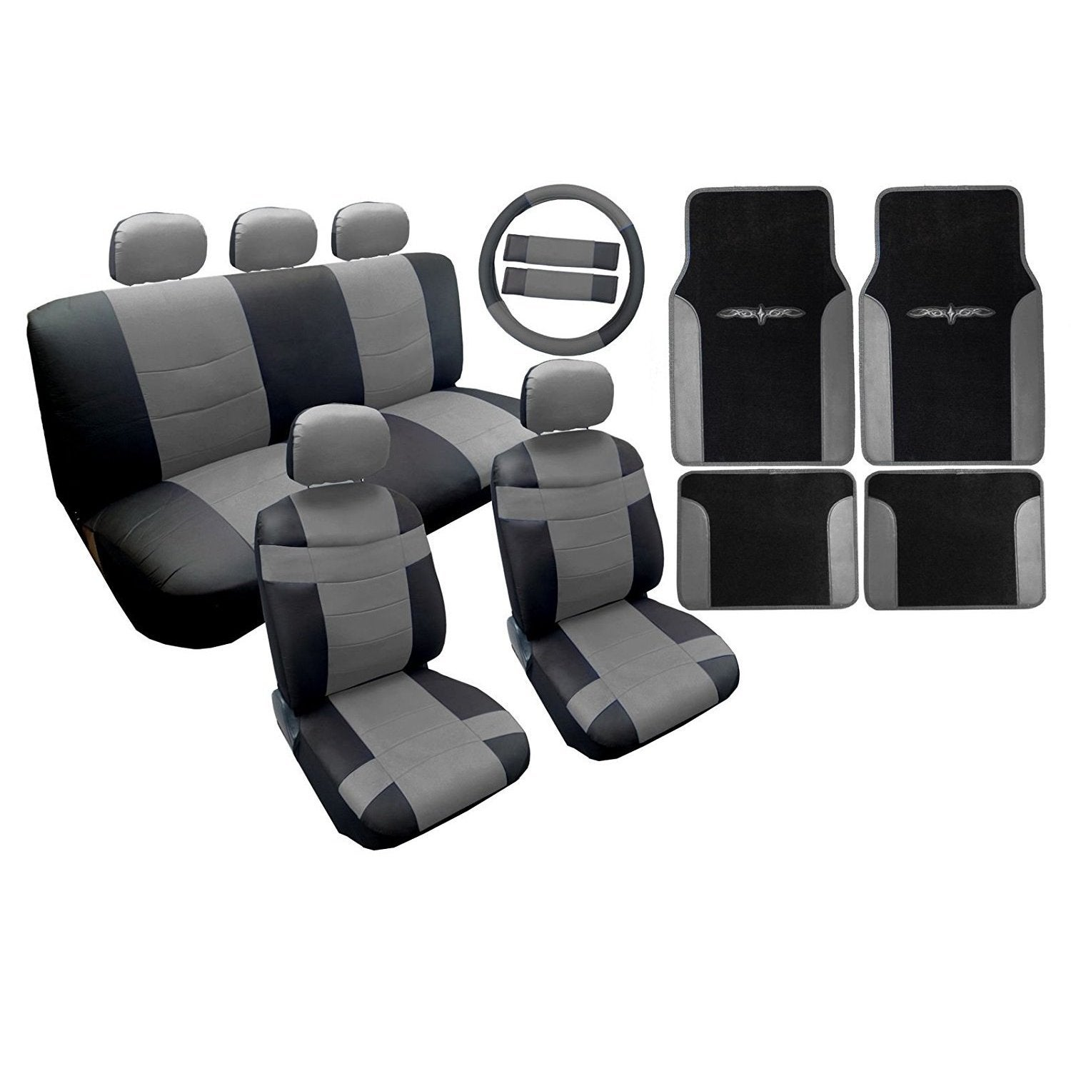 Two Tone Leather Seat Cover Black & Gray with Mats 18pc Toyota