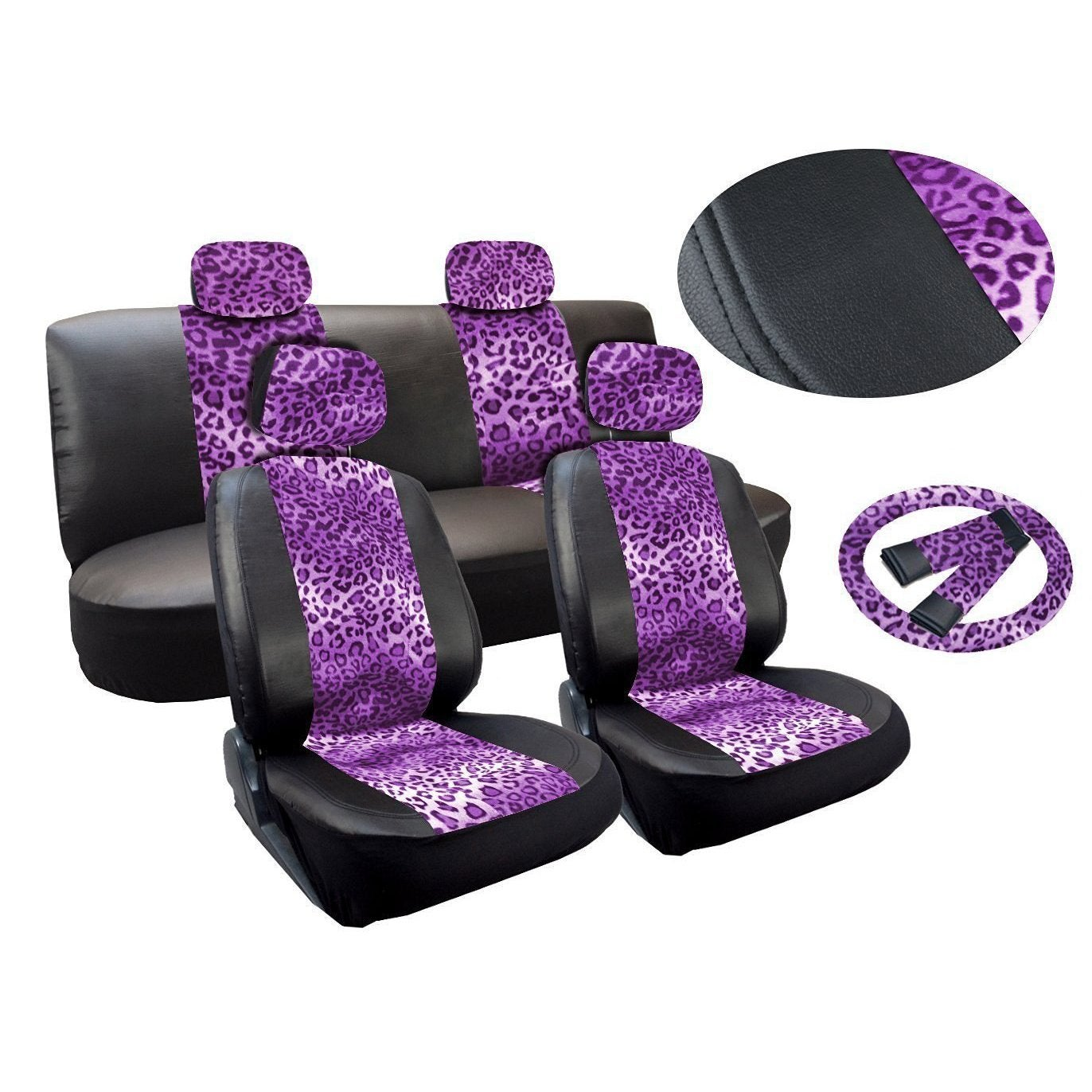 Shop Leopard Purple Print Leatherette 13pc Seat Cover Low Bench Steering