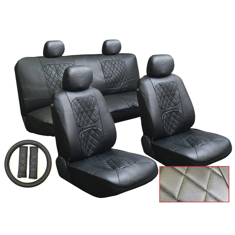 13Pcs Leatherette Toyota Black Seat Cover set Steering Seat Belt