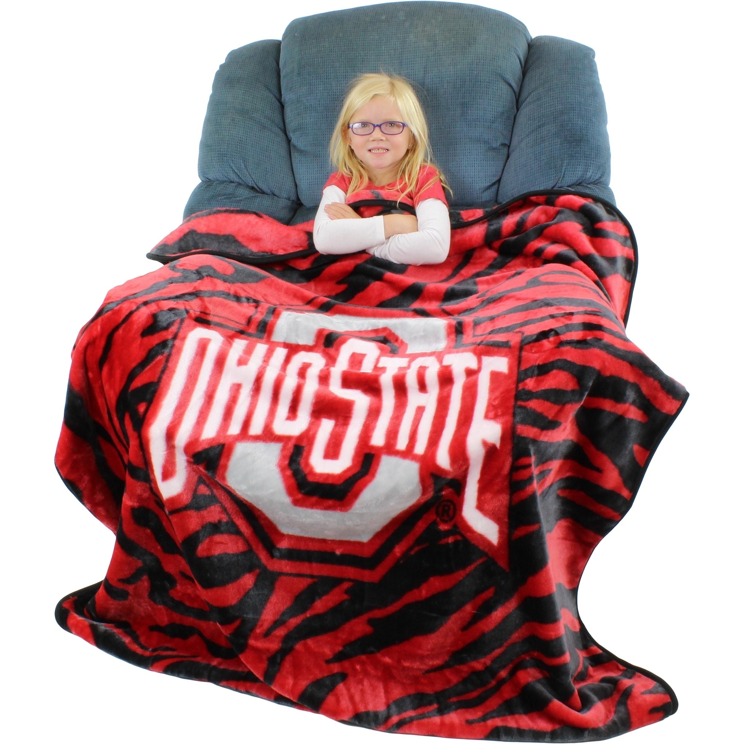 Shop Ohio State Buckeyes Raschel Throw Blanket 50 X 60 Free
