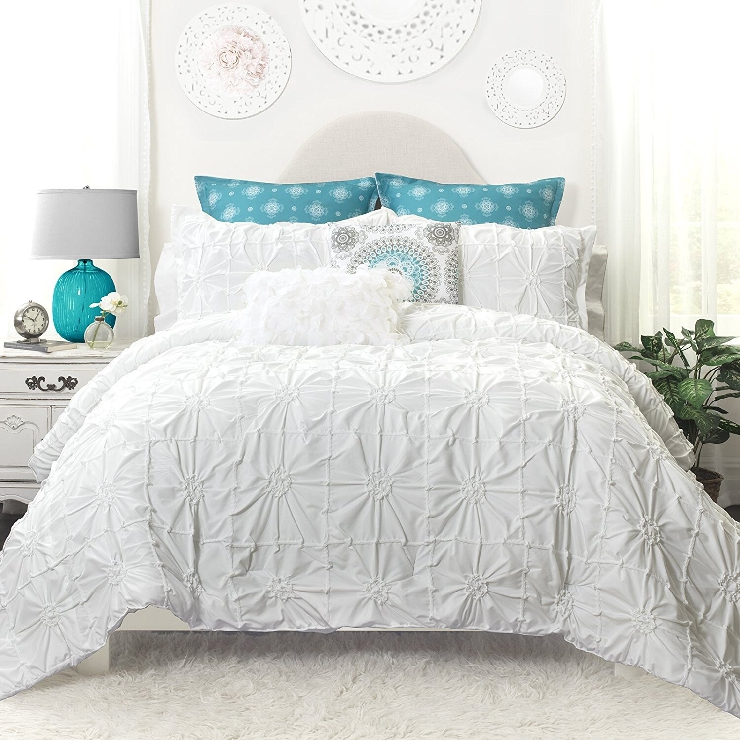 pinched double comforter luxury set pleated pinch oxford pleat needle soft gray