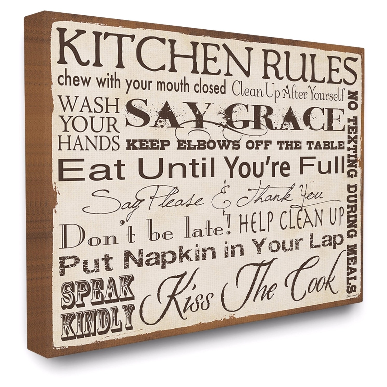 Shop stupell industries kitchen rules creme kitchen wall art on sale free shipping on orders over 45 overstock 19385311