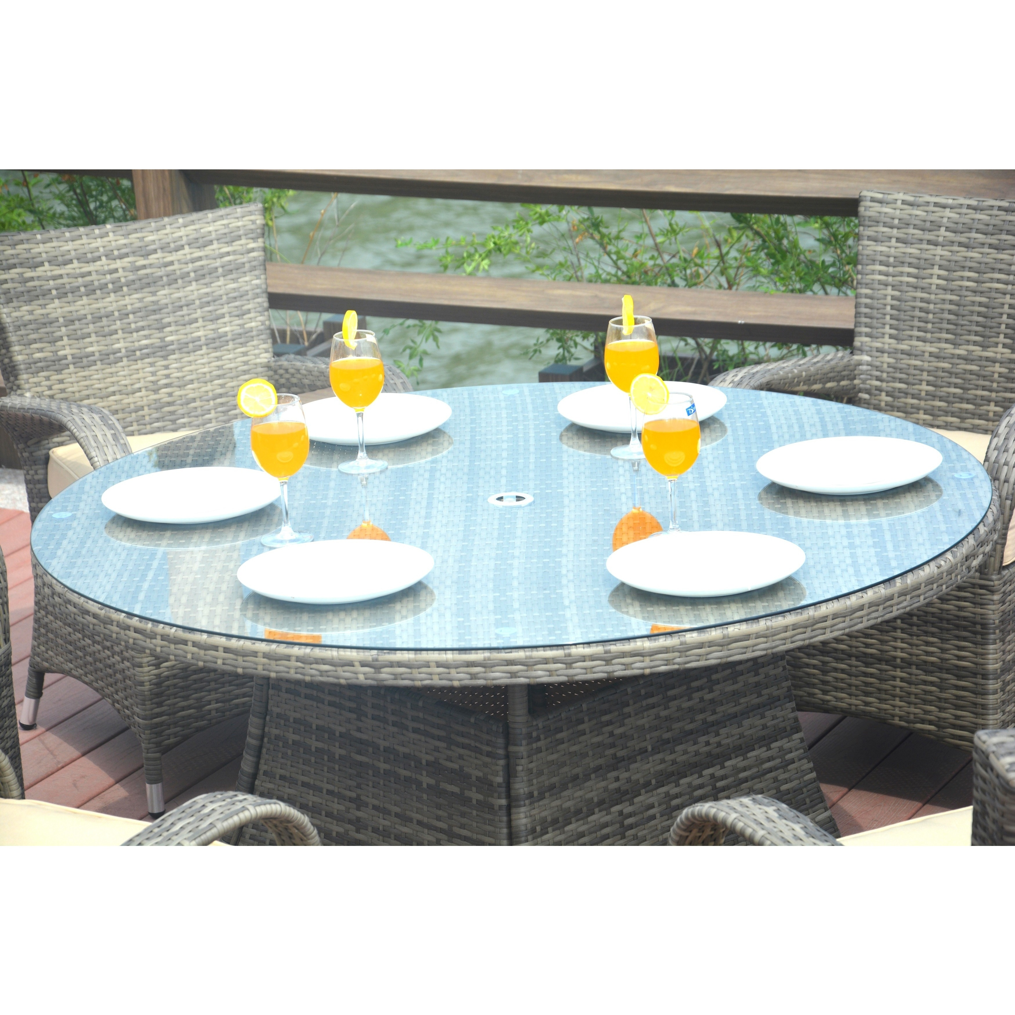 Shop Turin 8-piece Round Outdoor Patio Wicker Dining Set with 9.8 ft ...