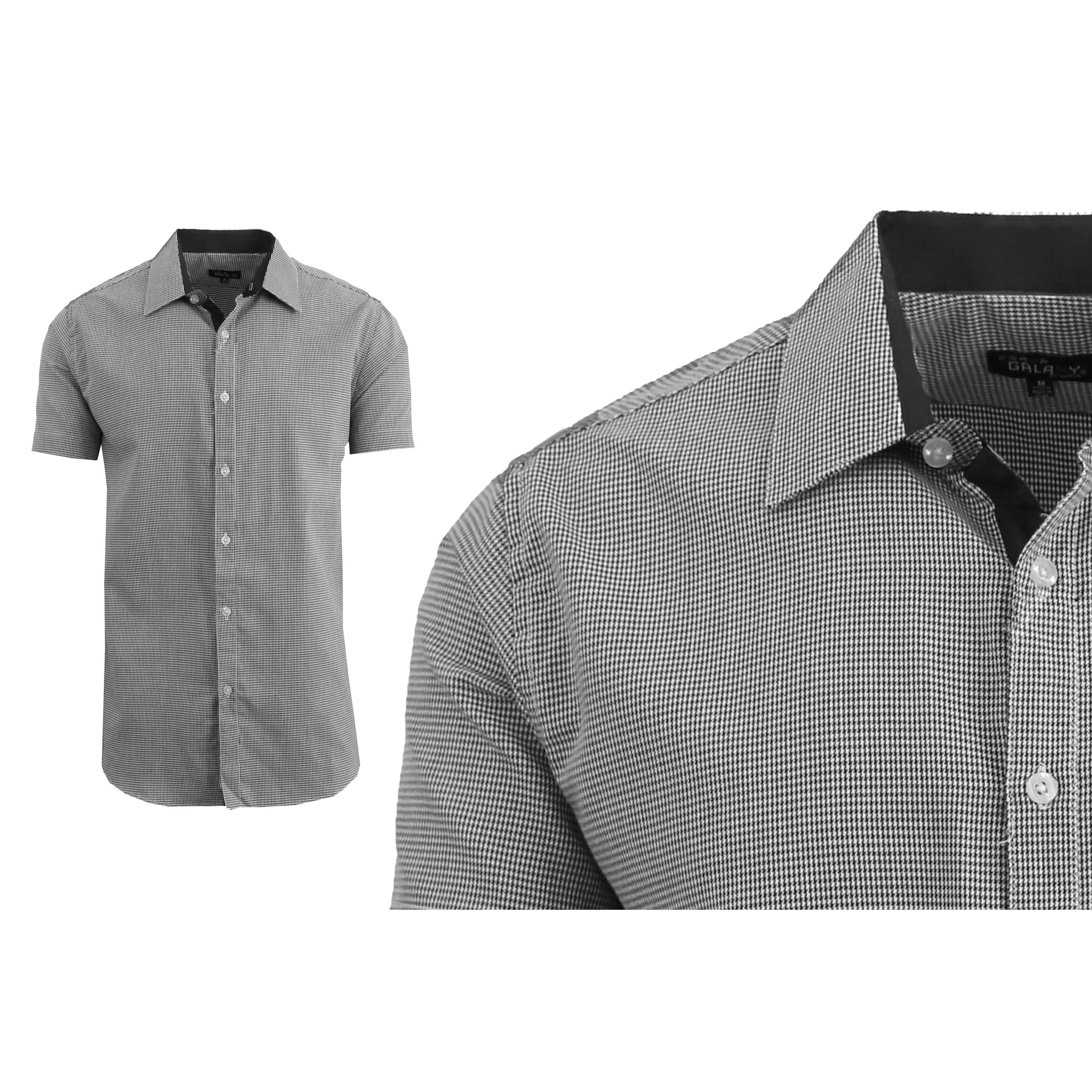 8c8aa42273b Galaxy By Harvic Men's Short Sleeve Houndstooth Button Down Dress Shirts