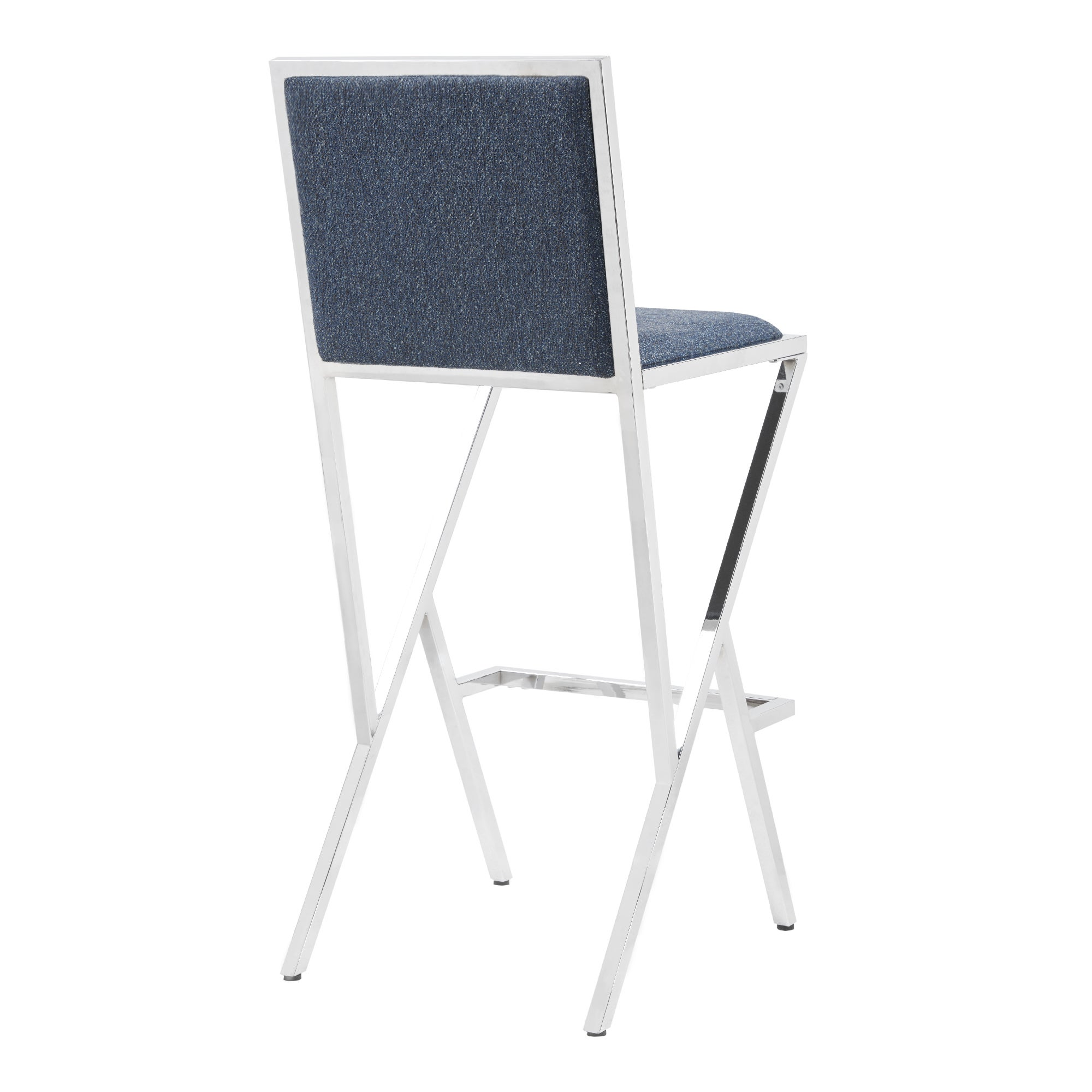 Shop Ink+Ivy Obsidian Blue/ Chrome Fabric/ Metal Bar Height Directoru0027s Chair    Free Shipping Today   Overstock.com   19387503