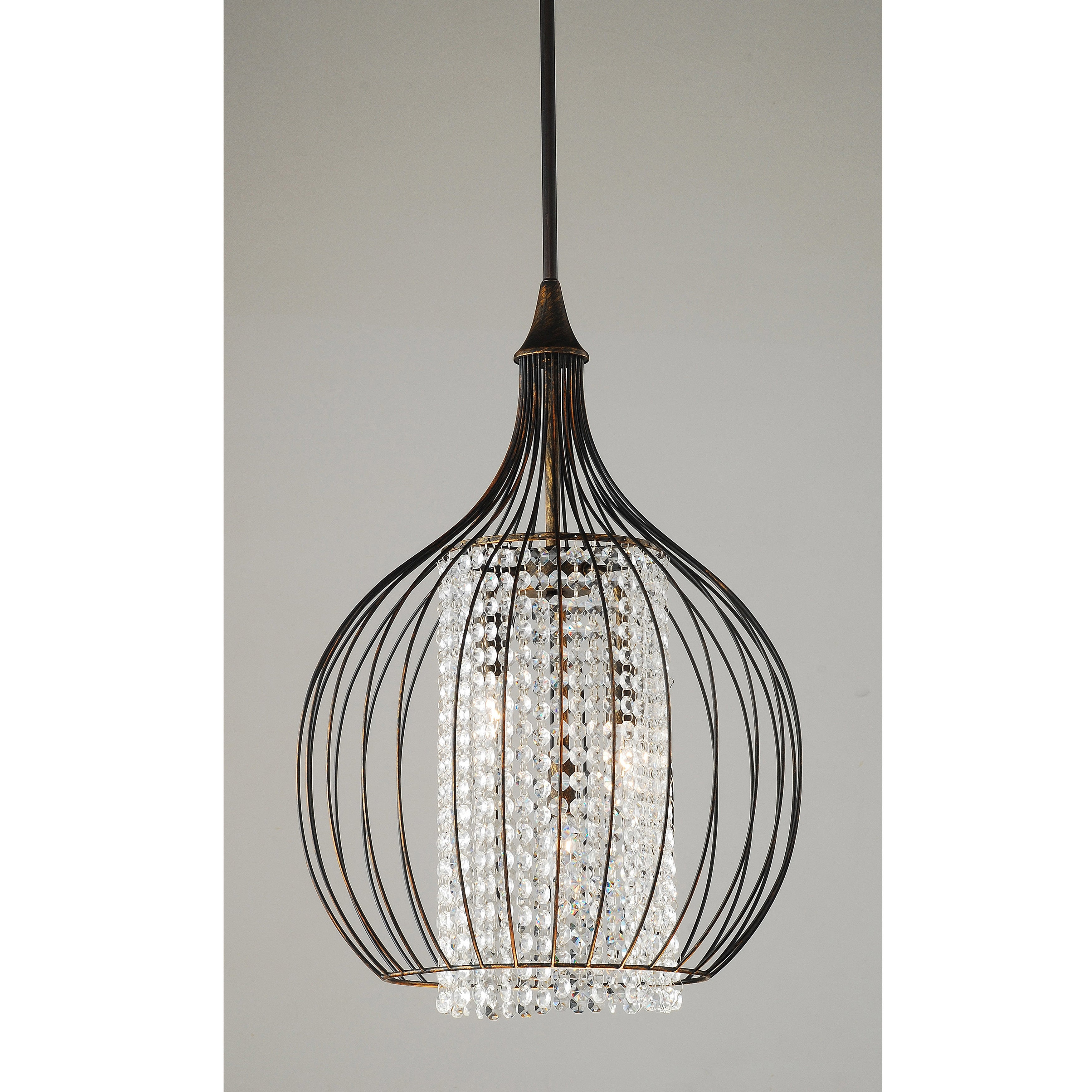 Indoor 3 Light Copper Crystal Pendant Chandelier Free Shipping Today 19389916