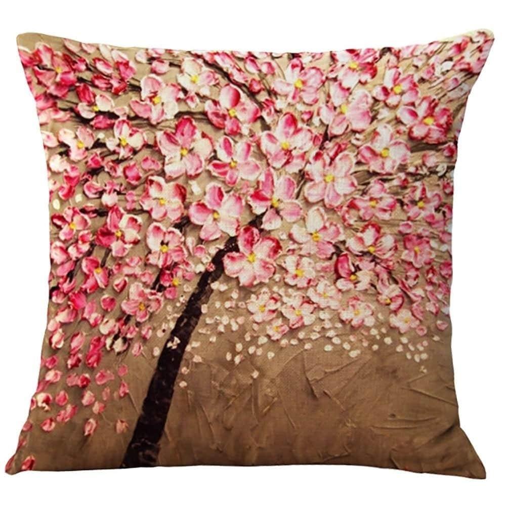 Cotton Linen Pillow Case Pink Flower Jasmine Tree 18 X 18 Free