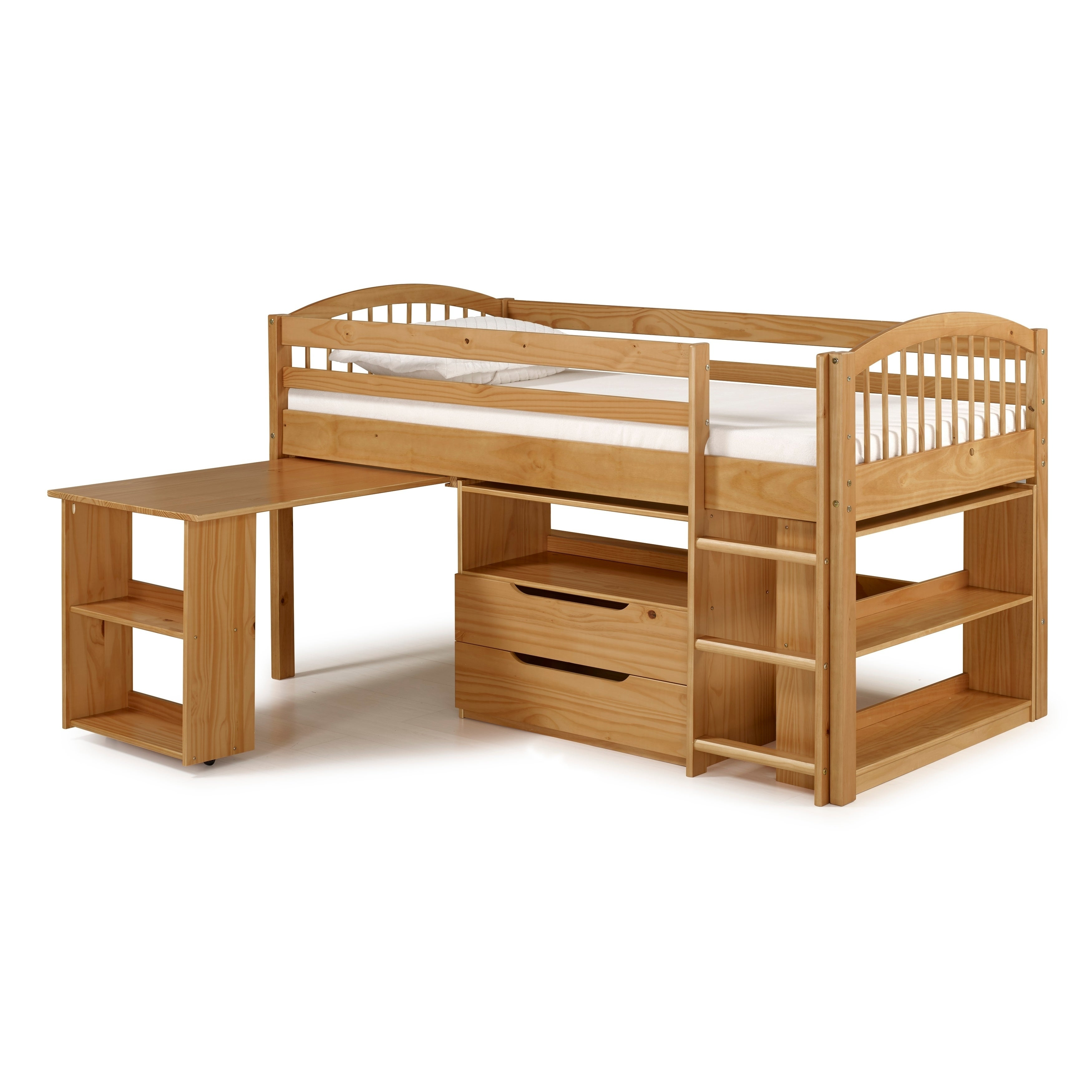 Addison Junior Low Loft Bed With Storage Drawers, Desk And