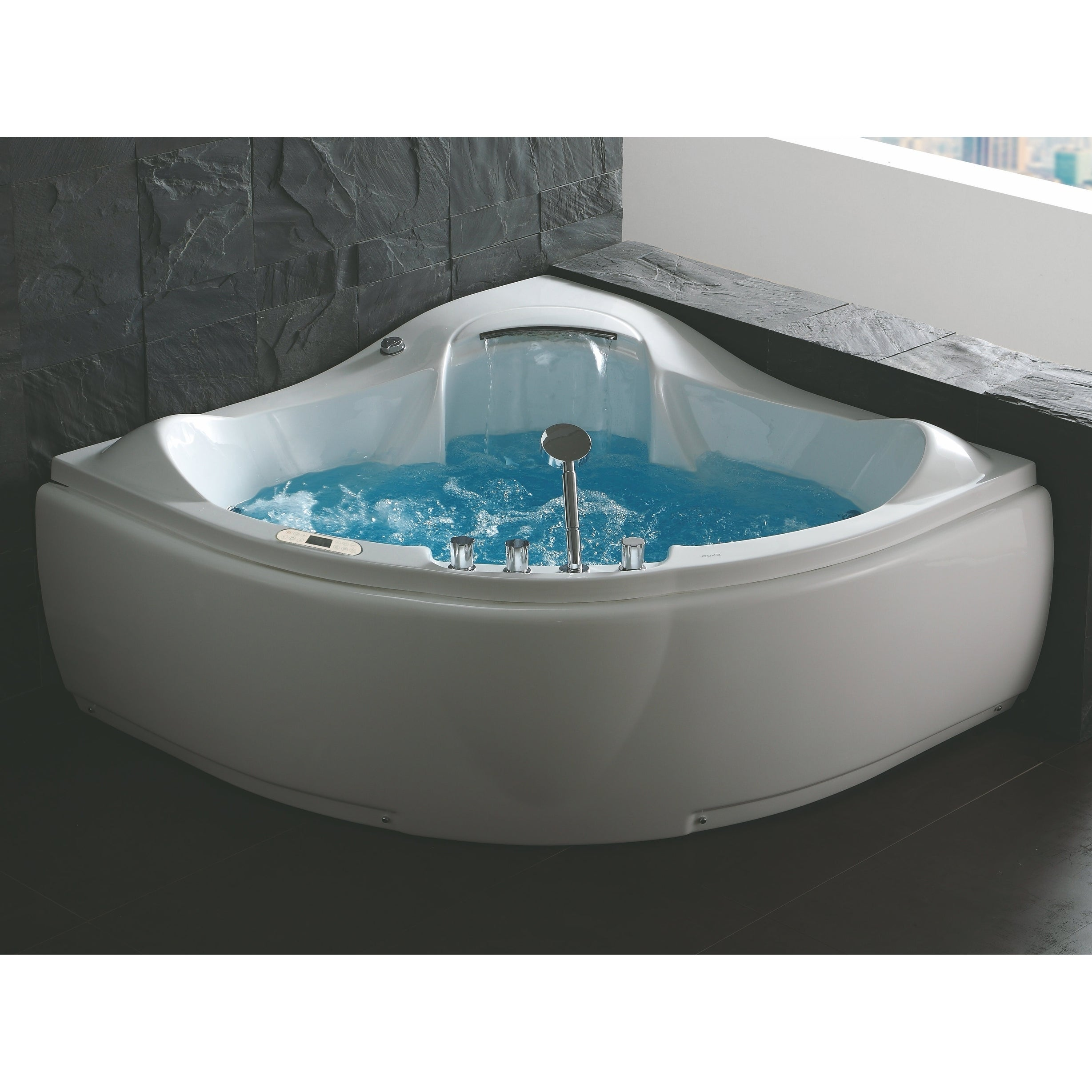 Shop EAGO AM208ETL 5 ft Corner Acrylic White Waterfall Whirlpool ...