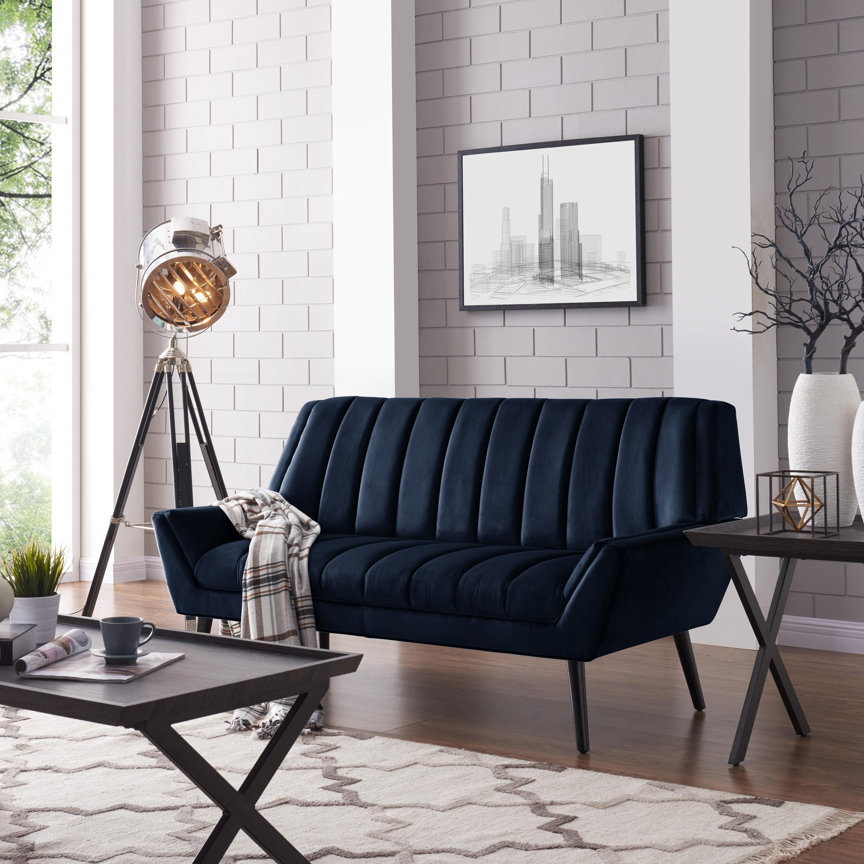 Shop Handy Living Houston Mid Century Modern Navy Blue Velvet Sofa