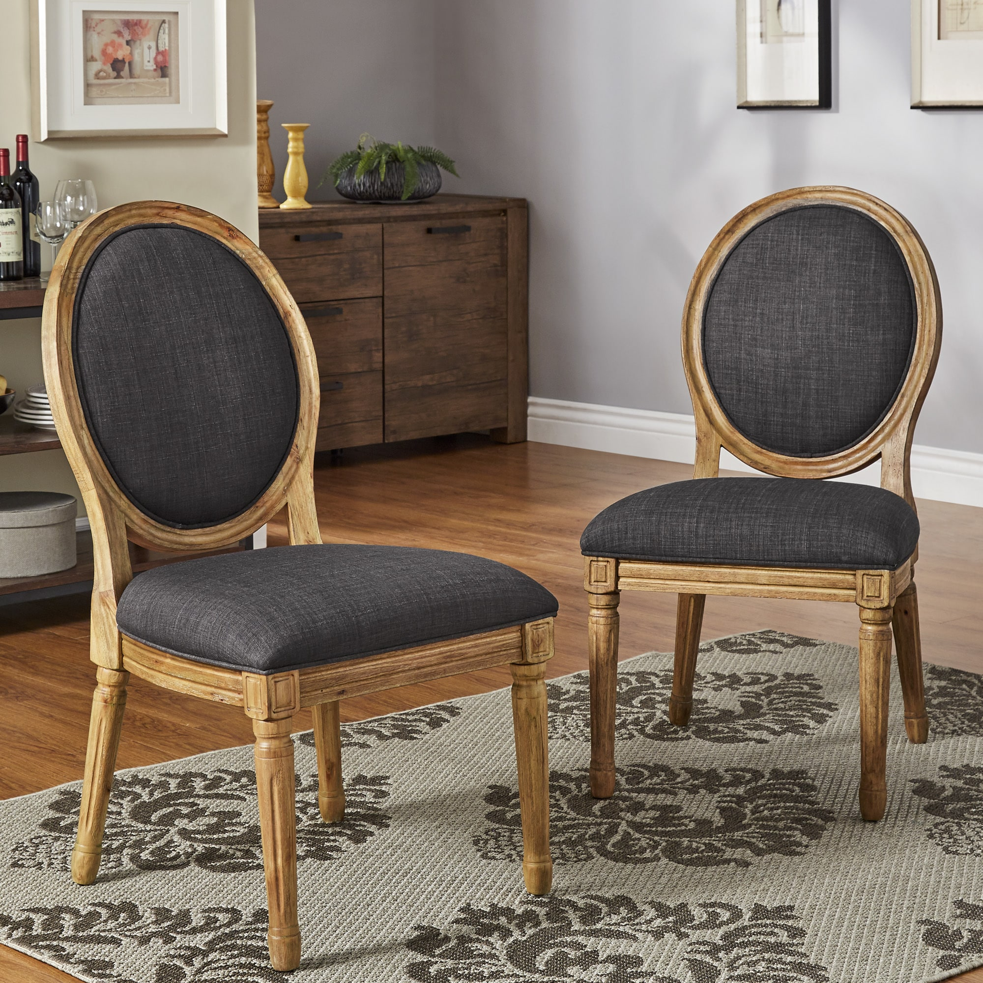 Deana round back linen and pine wood dining chairs set of 2 by inspire q artisan