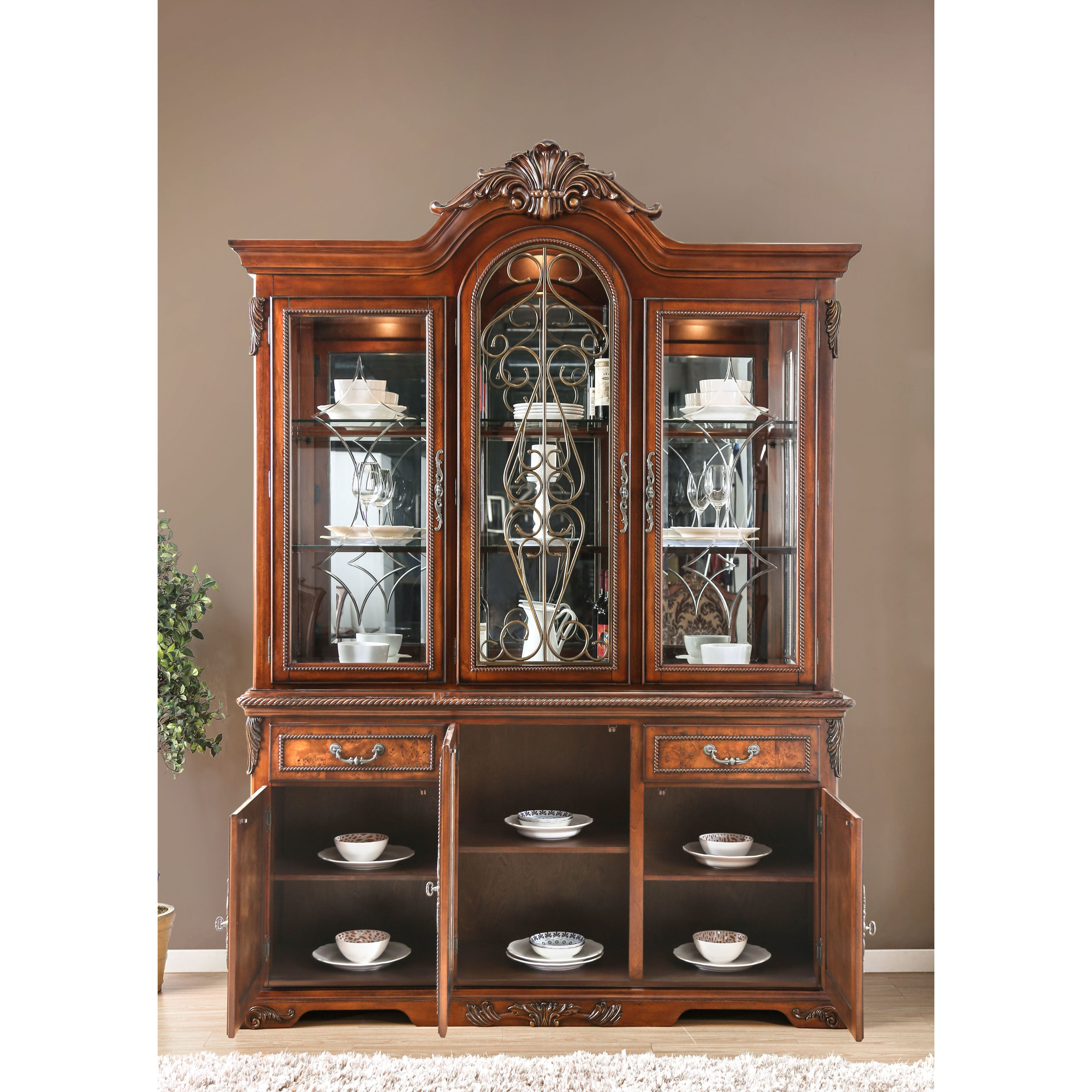 Furniture Of America Tifanil Traditional Brown Cherry Wood Metal 2 Piece Buffet And Hutch Set