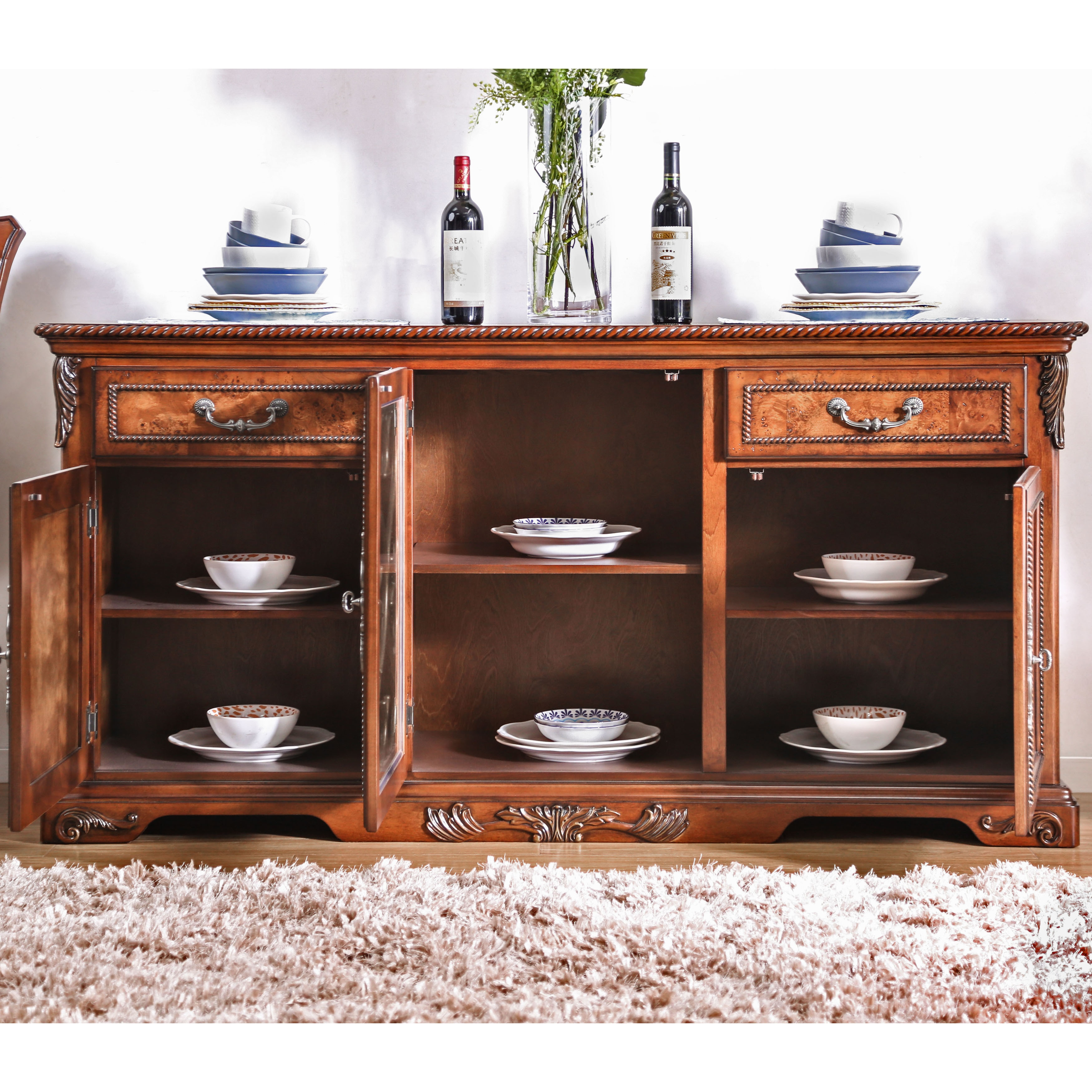 Furniture Of America Tifanil Traditional Brown Cherry Wood Metal 2 Piece Buffet And Hutch Set On Free Shipping Today 19401156