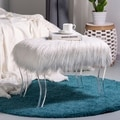 Glitzhome White Faux Fur Acrylic Tufted Vanity Bench
