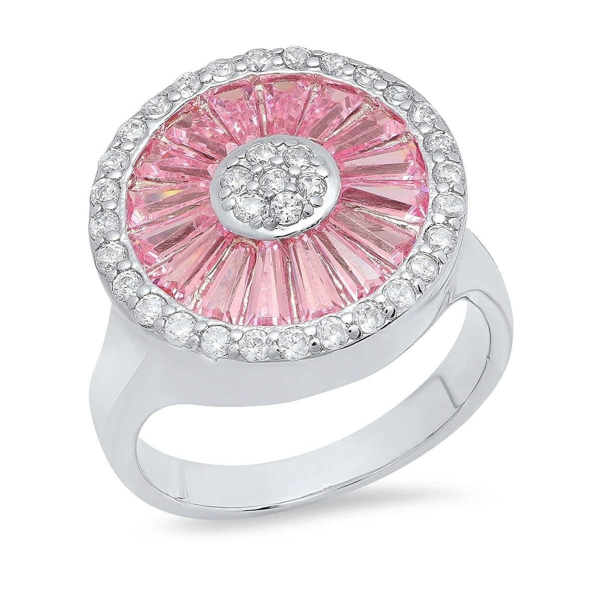 Piatella Ladies White Gold Tone Brass Lab Created Pink Spinel Flower ...