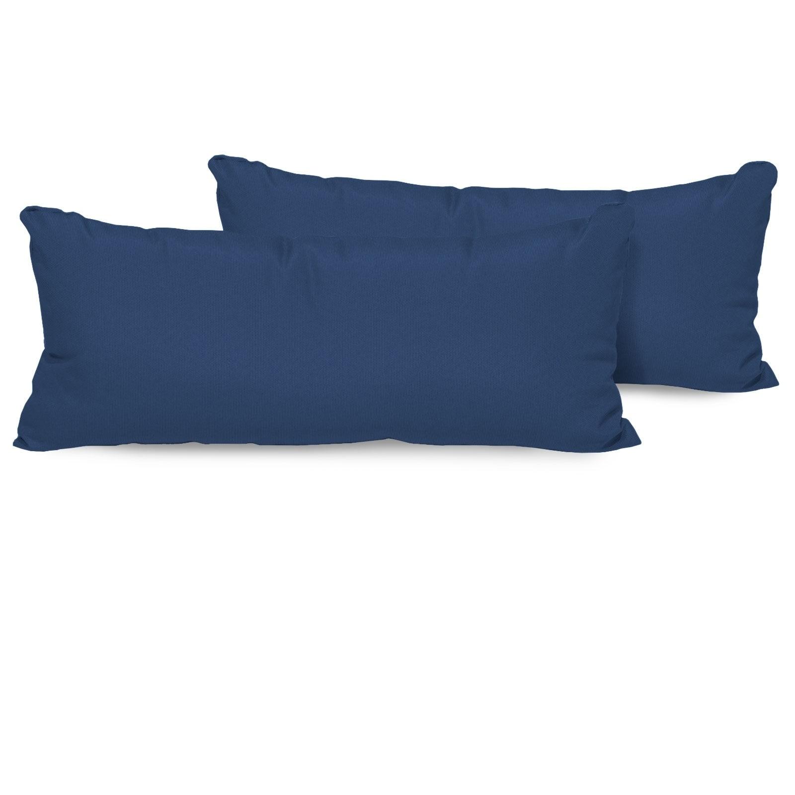 Shop Navy Outdoor Throw Pillows Rectangle Set Of 2 Free Shipping