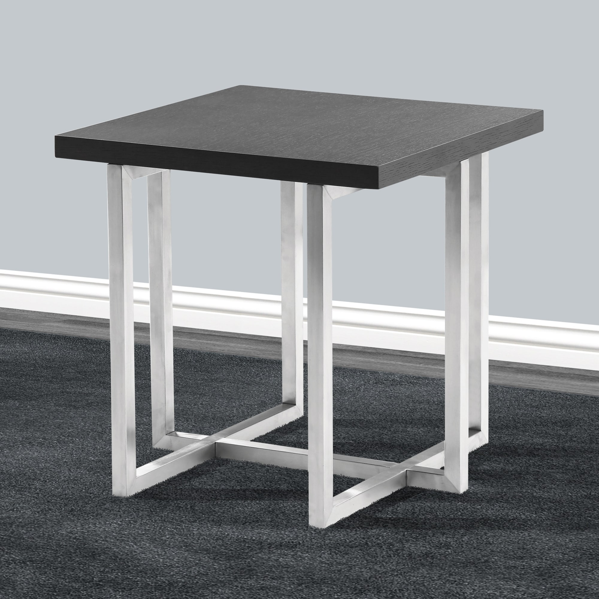 Shop armen living topaz end table in stainless steel and grey veneer wood on sale free shipping today overstock com 19421622