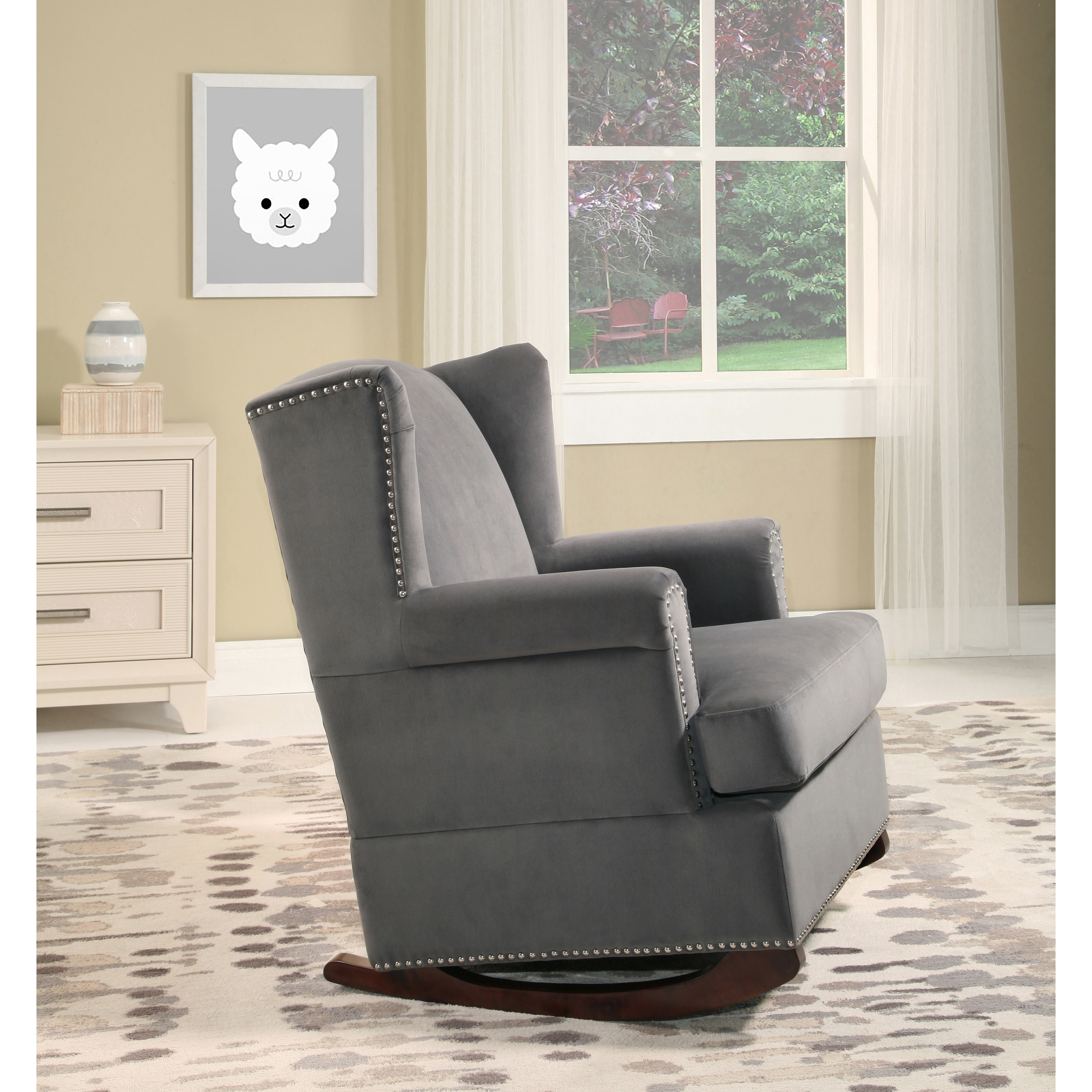 Shop Abbyson Warren Charcoal Grey Velvet Wingback Rocking Chair   On Sale    Free Shipping Today   Overstock.com   19421825