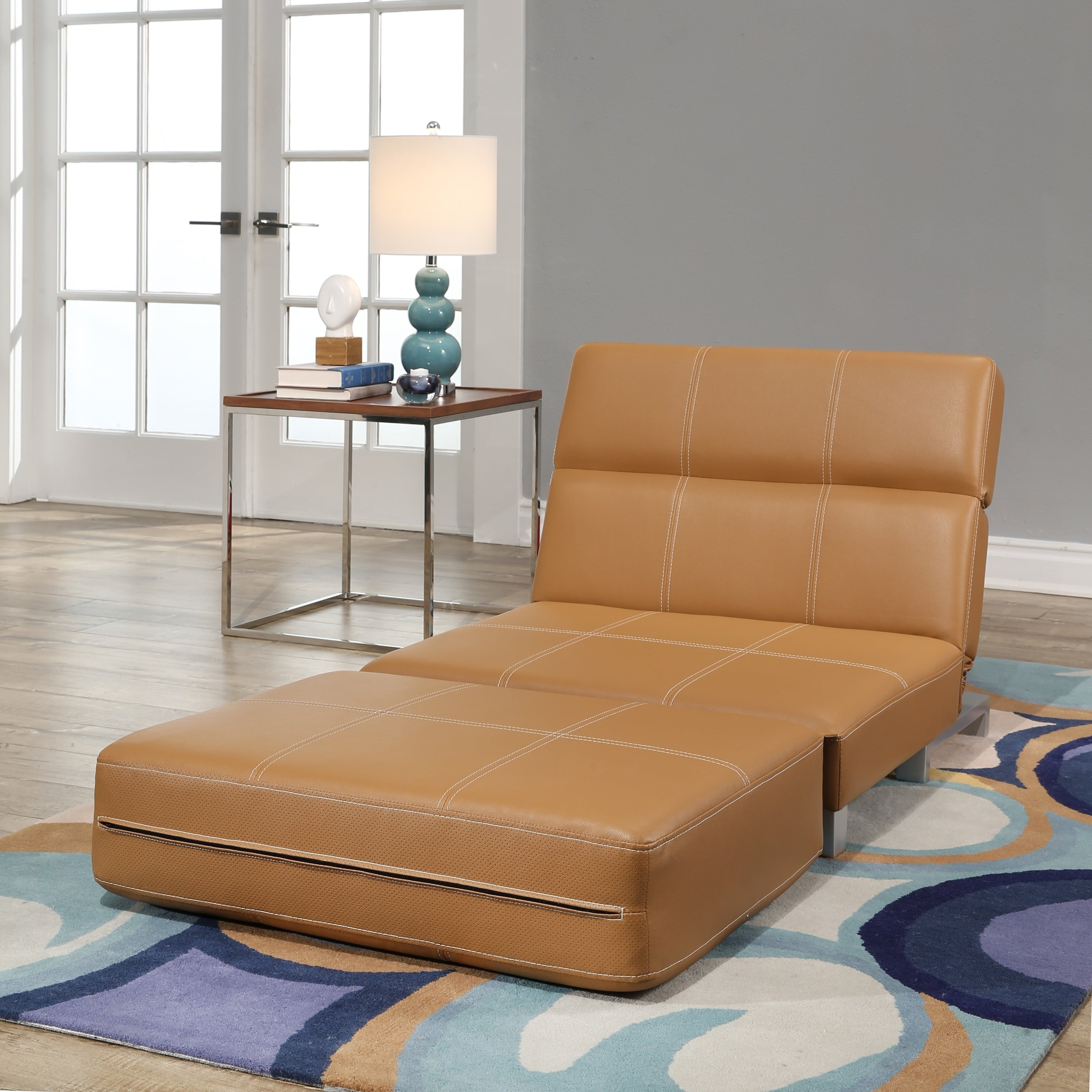 Abbyson Hammond Faux Leather Convertible Futon Chair   Free Shipping Today    Overstock.com   25426966