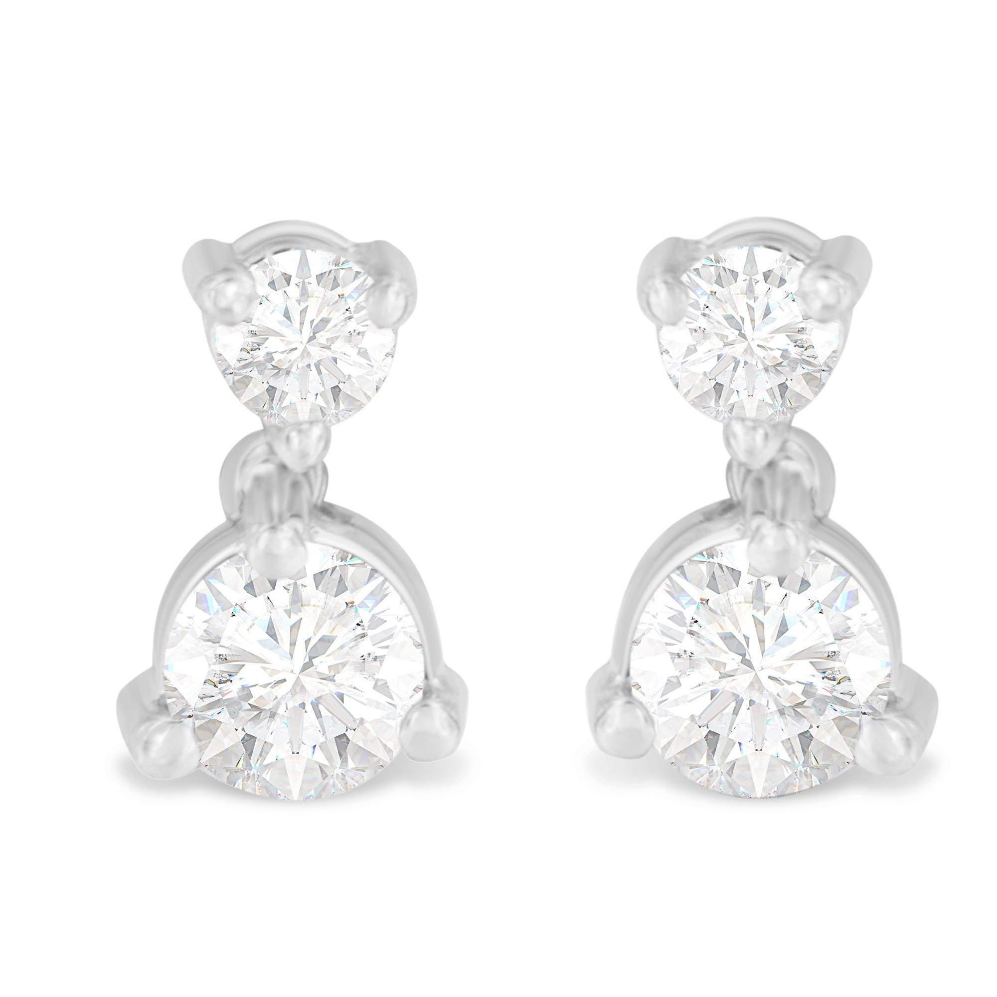 Tdw Double Diamond Drop Stud Earrings H I I1 I2 On Free Shipping Today 19421840