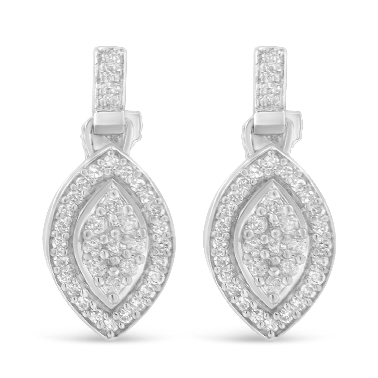 earrings product in original silver luulla shape on cutout rectangular diamond studs