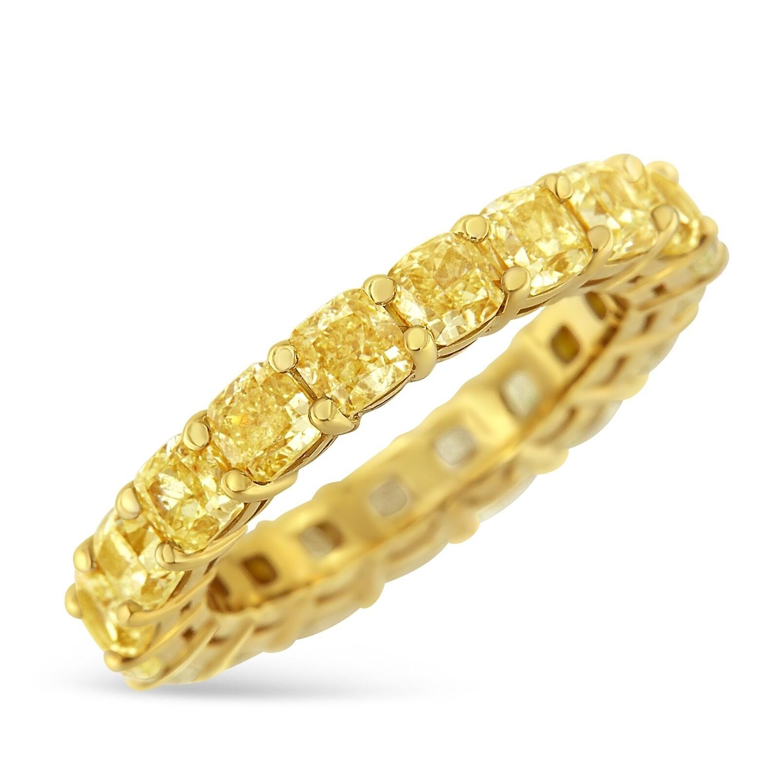 IGI Certified 18k Yellow Gold 5 00ct  TDW Yellow Cushion Diamond Eternity  Band (VVS2-VS1)