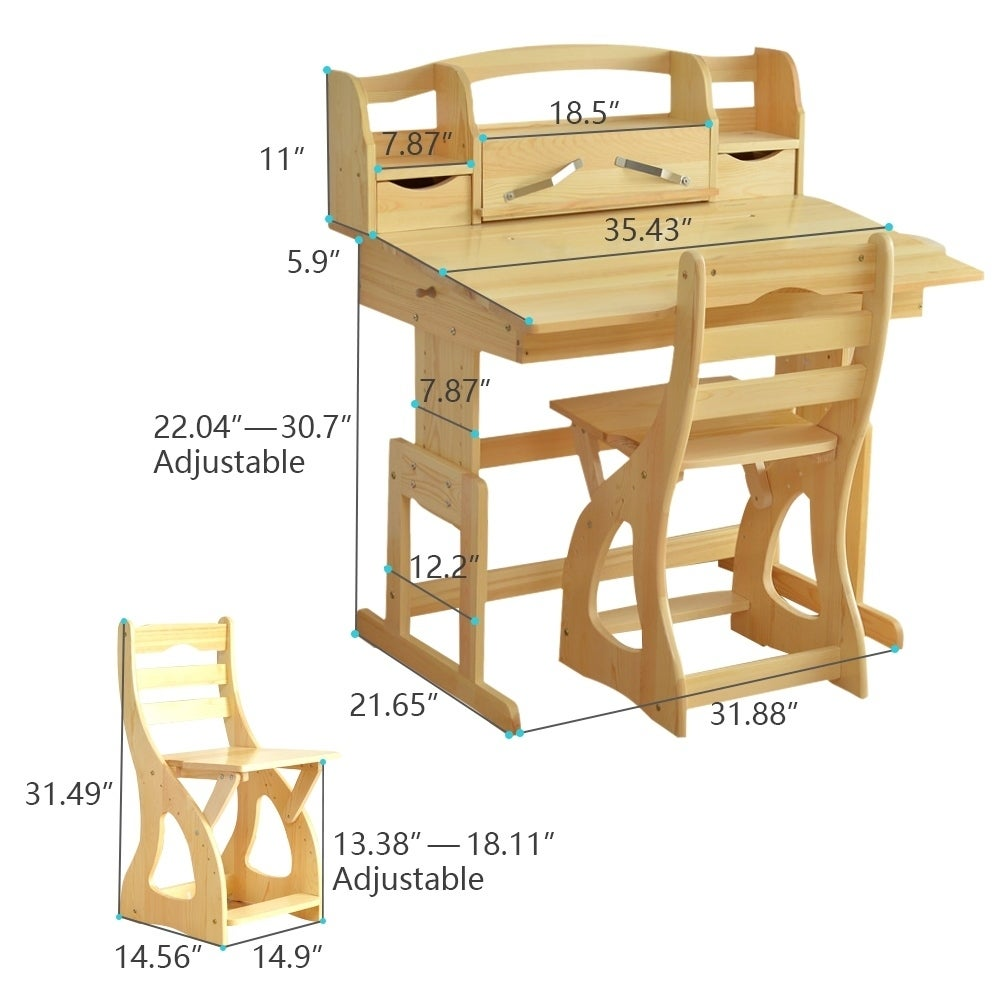 Pine Wood Kids Ergonomic Height Adjustable Desk And Chair Set   Free  Shipping Today   Overstock.com   25426990