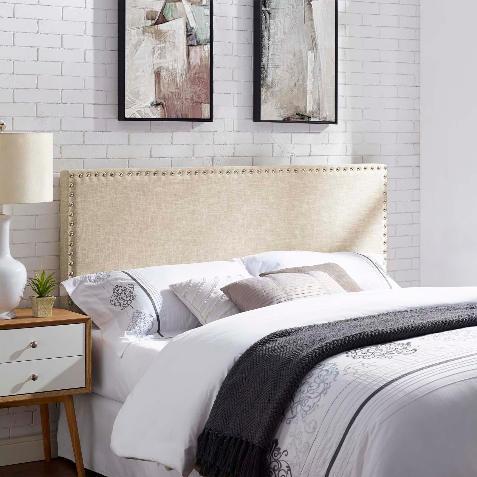 Shop phoebe queen upholstered fabric headboard free shipping today overstock com 19427925