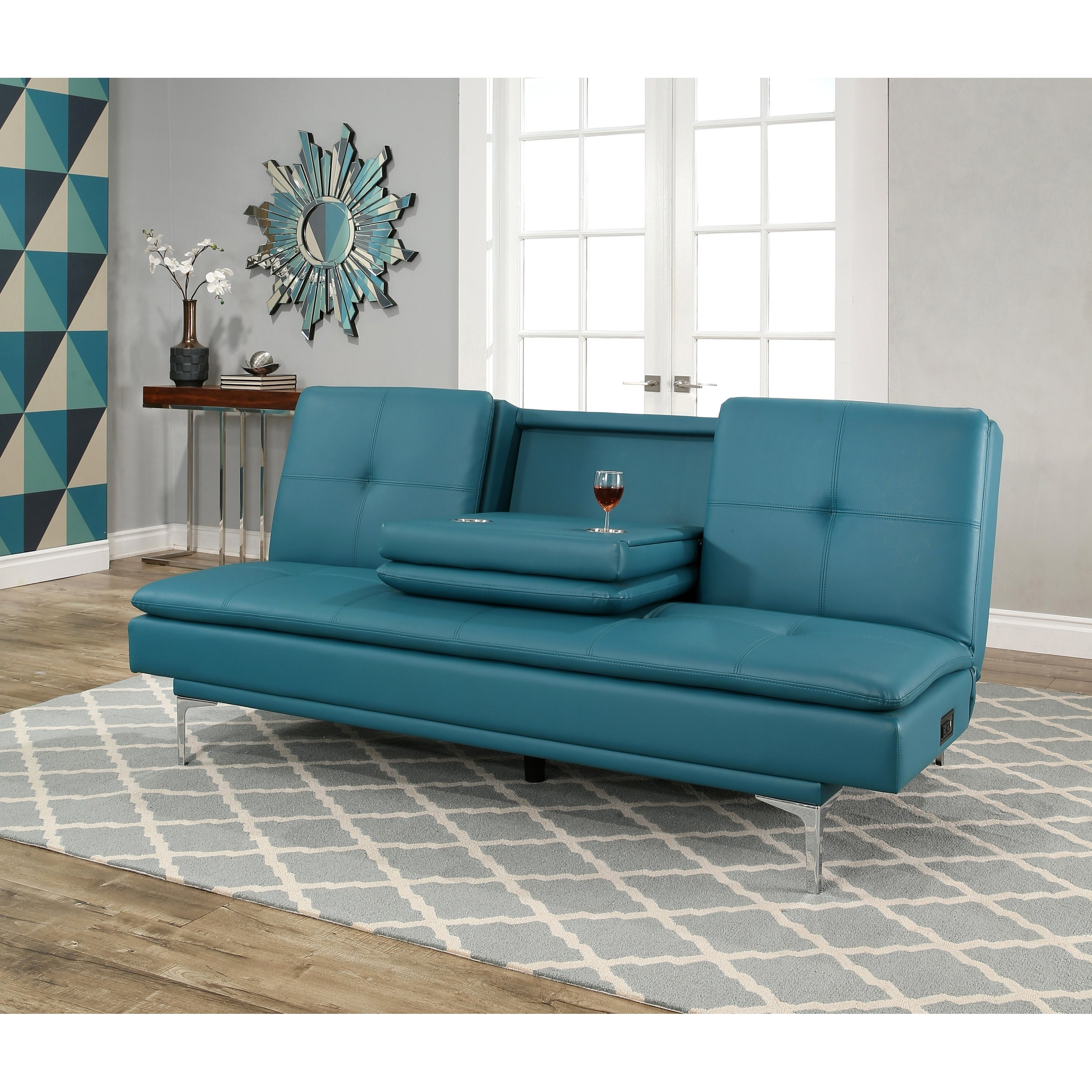Abbyson Kilby Turquoise Bonded Leather Sofa Bed With Console On Free Shipping Today 19429173