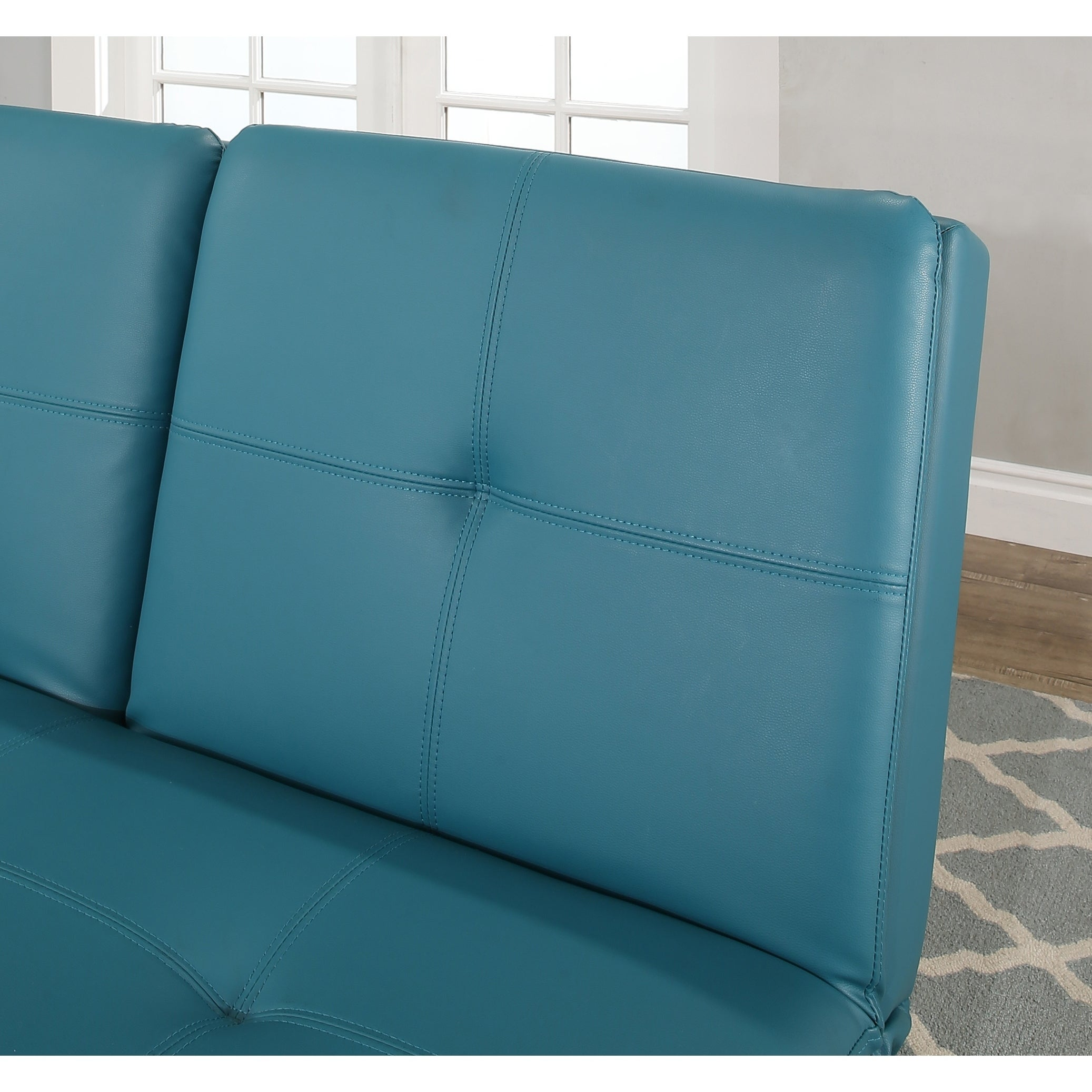 Abbyson Kilby Turquoise Bonded Leather Sofa Bed With Console   Free  Shipping Today   Overstock   25433543