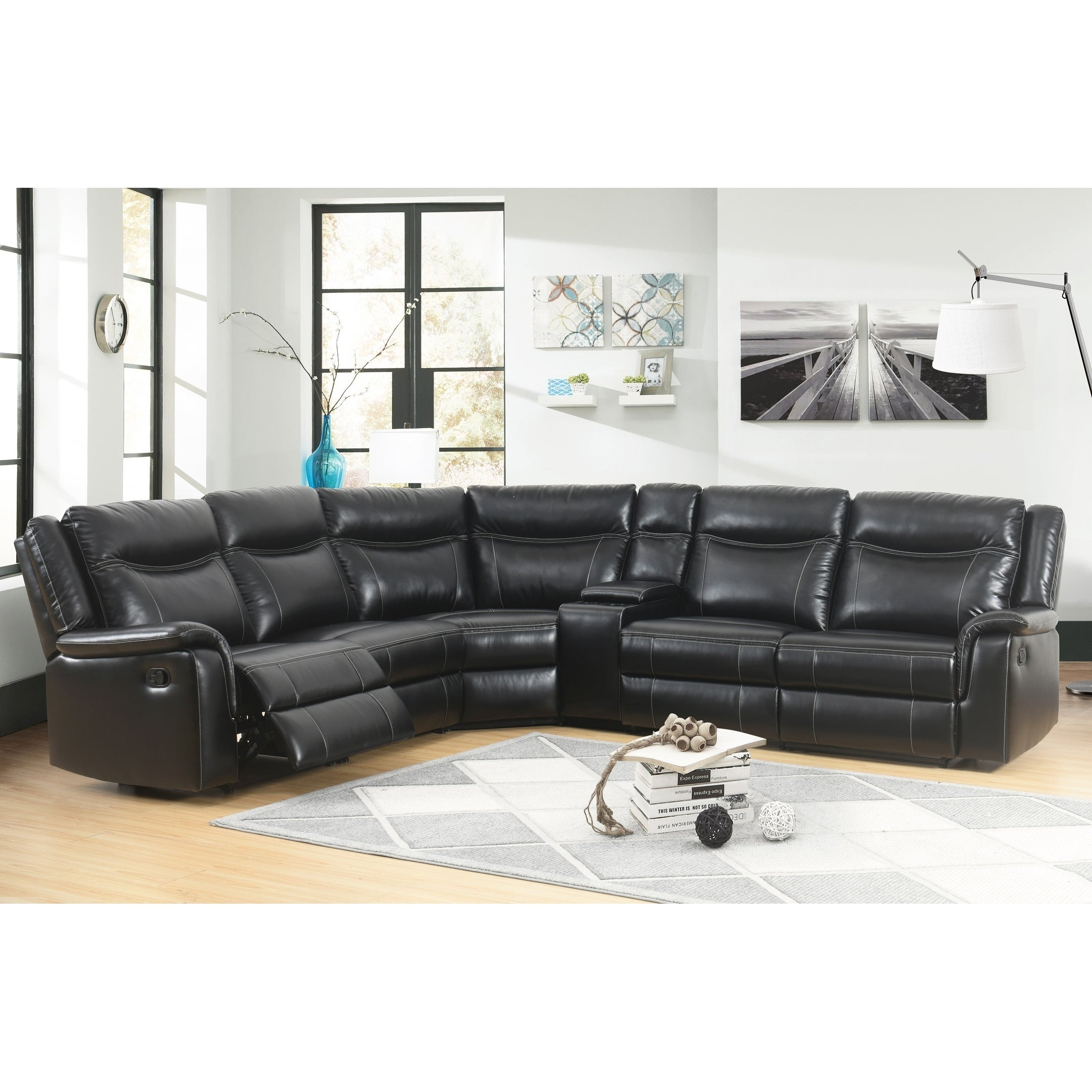 Shop Abbyson Everett Black Reclining Sectional With Console On