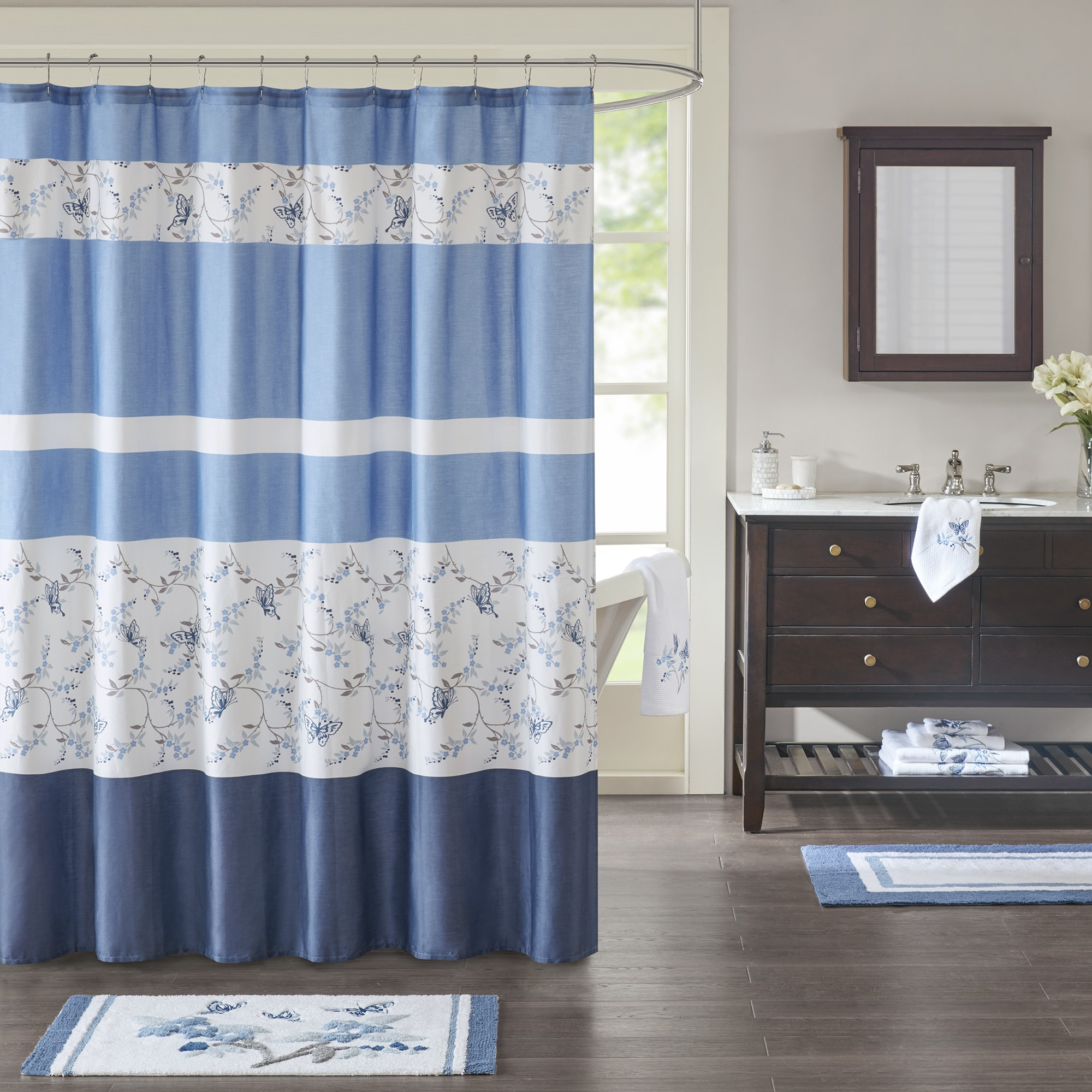 Madison Park Callia Blue Cotton Sateen Printed Shower Curtain