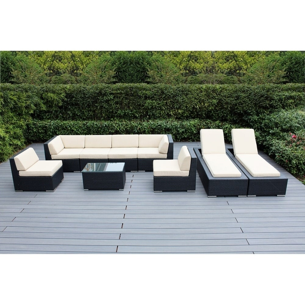Ohana Outdoor Patio 9 Piece Black Wicker Sofa and Chaise Lounge with  Cushions