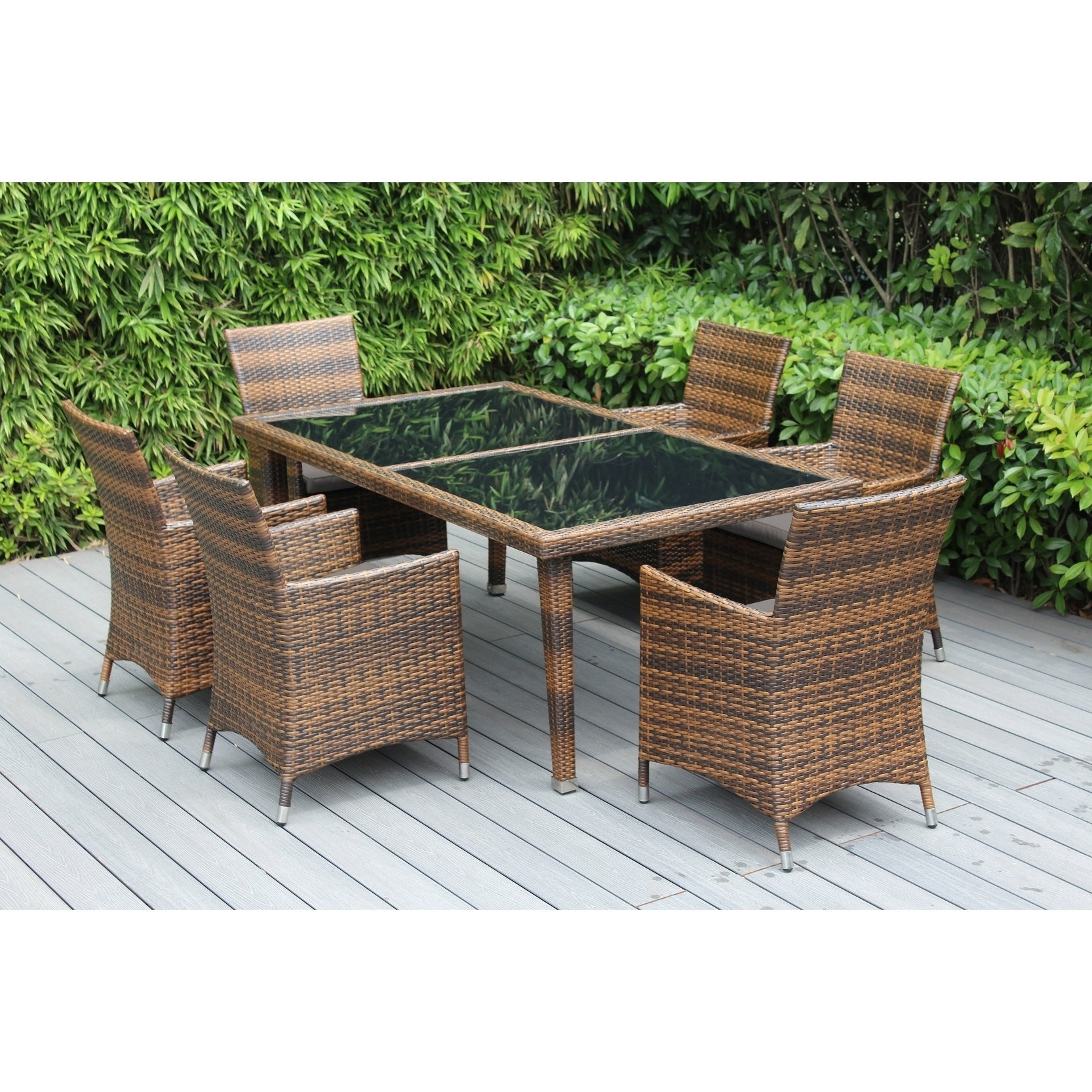Shop Ohana Outdoor Patio 7 Piece Mixed Brown Wicker Dining Set With  Cushions   Free Shipping Today   Overstock.com   19432756