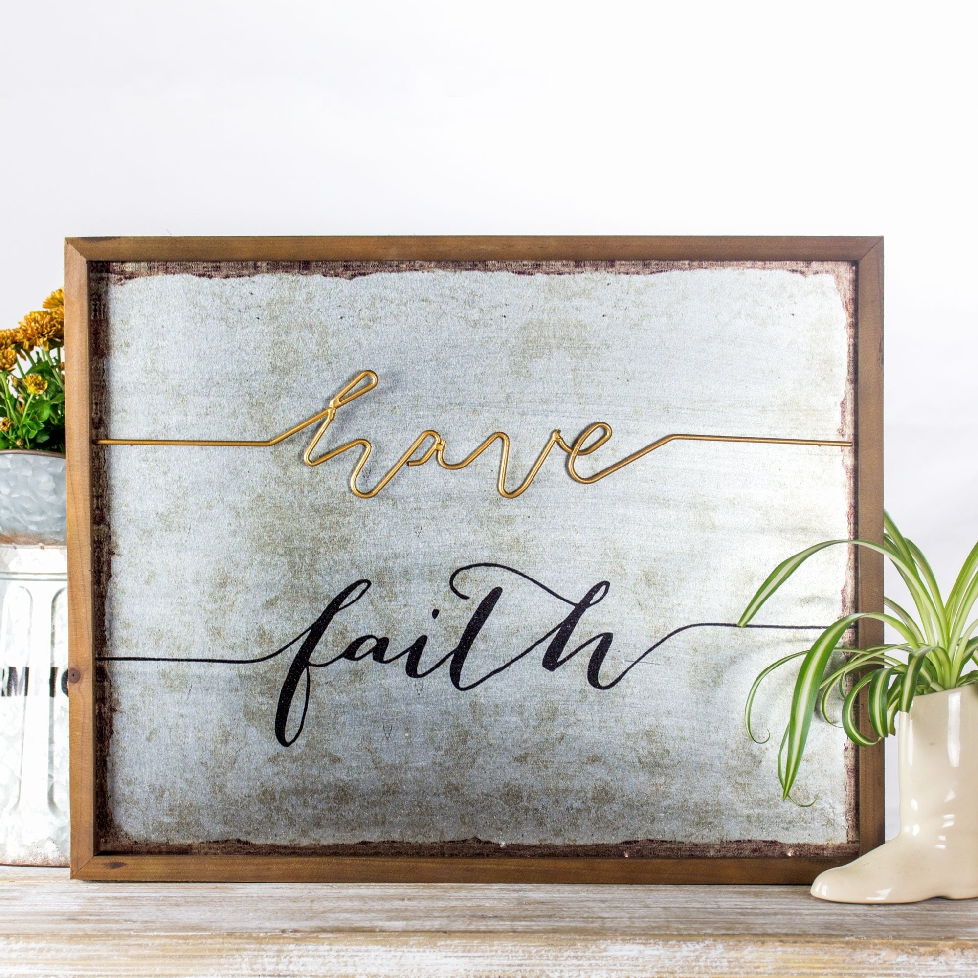 Shop 3d Wood Metal Framed Wall Art Decor Have Faith Free Shipping