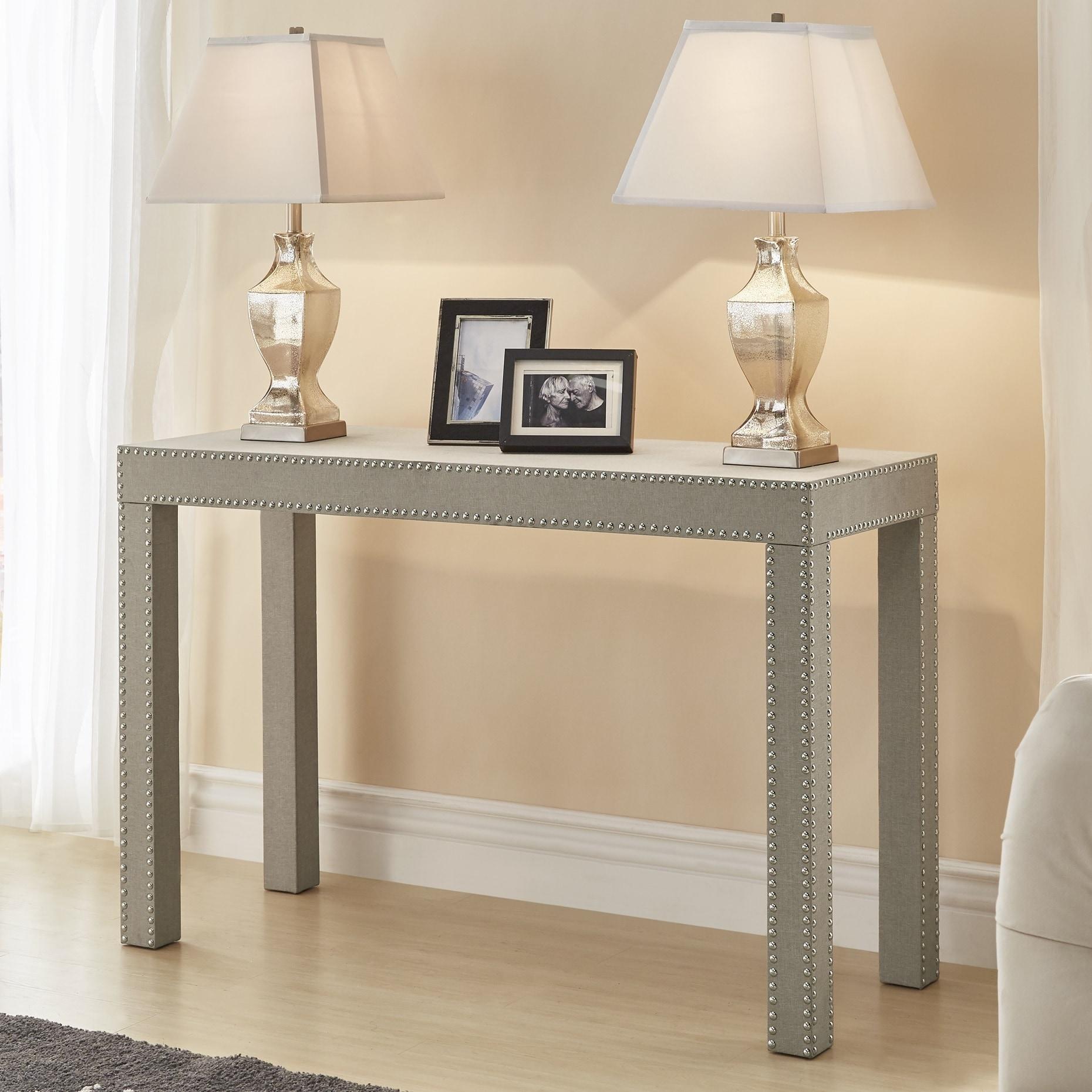 shop emery beige linen nailhead trim sofa table by inspire q bold on sale free shipping today overstockcom 19433872 - Nailhead Trim Sofa