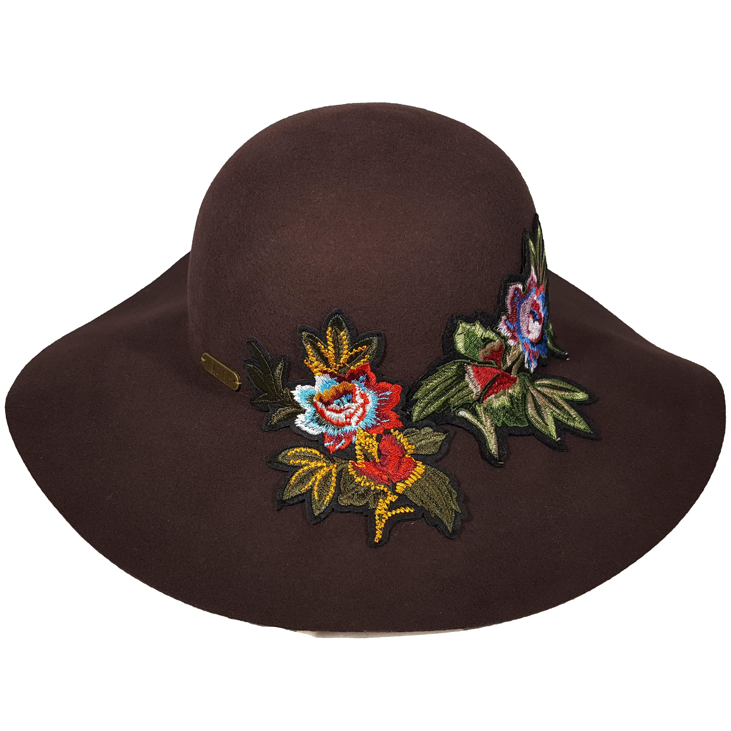 ec023495b4c Shop Hatch Floral Applique Wool Felt Floppy Wide Brim Women s Hat - Free  Shipping Today - Overstock - 19433908