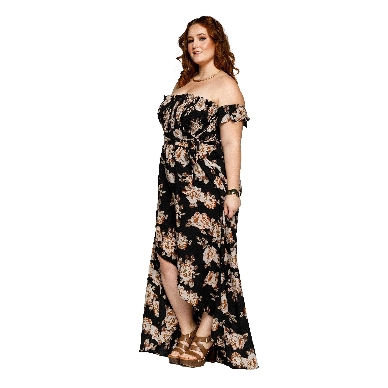 Xehar Womens Plus Size Off Shoulder Flowy Floral Long Maxi Dress