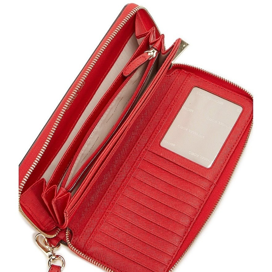 c11e433fbc6922 Shop MICHAEL Michael Kors Jet Set Travel Continental Wallet Bright Red/Gold  hardware - Free Shipping Today - Overstock - 19435451
