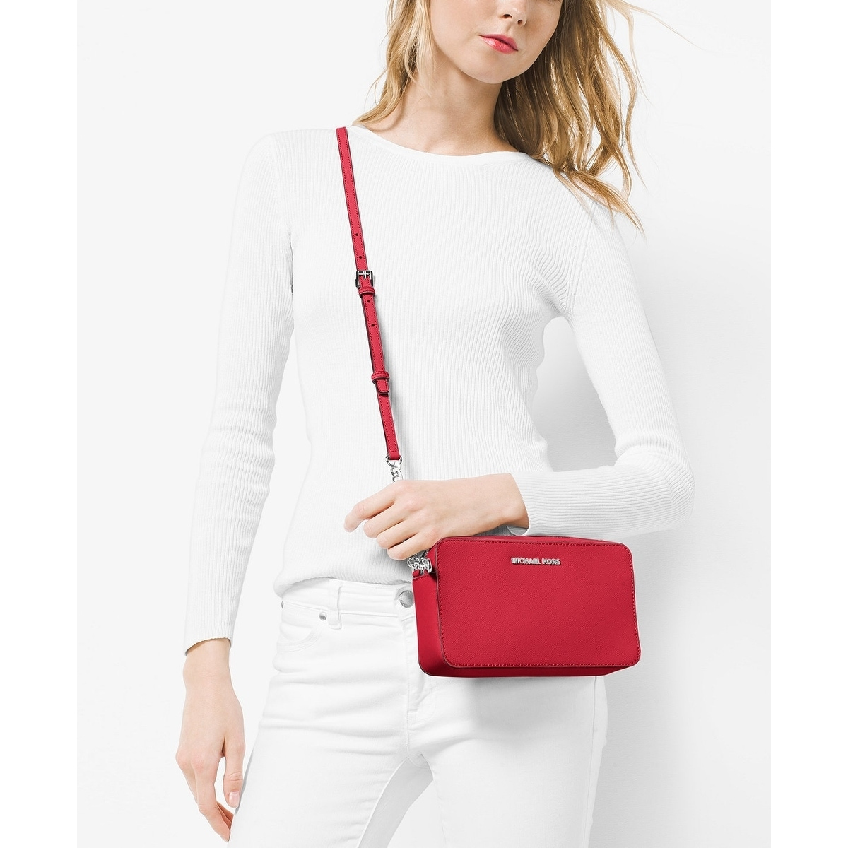 b80b1c84d8ec Shop MICHAEL Michael Kors Jet Set Travel Medium East West Crossbody Bright  Red Silver hardware - Free Shipping Today - Overstock - 19435713