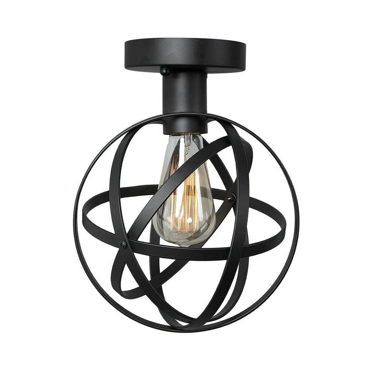 Shop Industrial Semi Flush Mount With Wire Cage Free Shipping Wiring A Light Fixture Today 19437596
