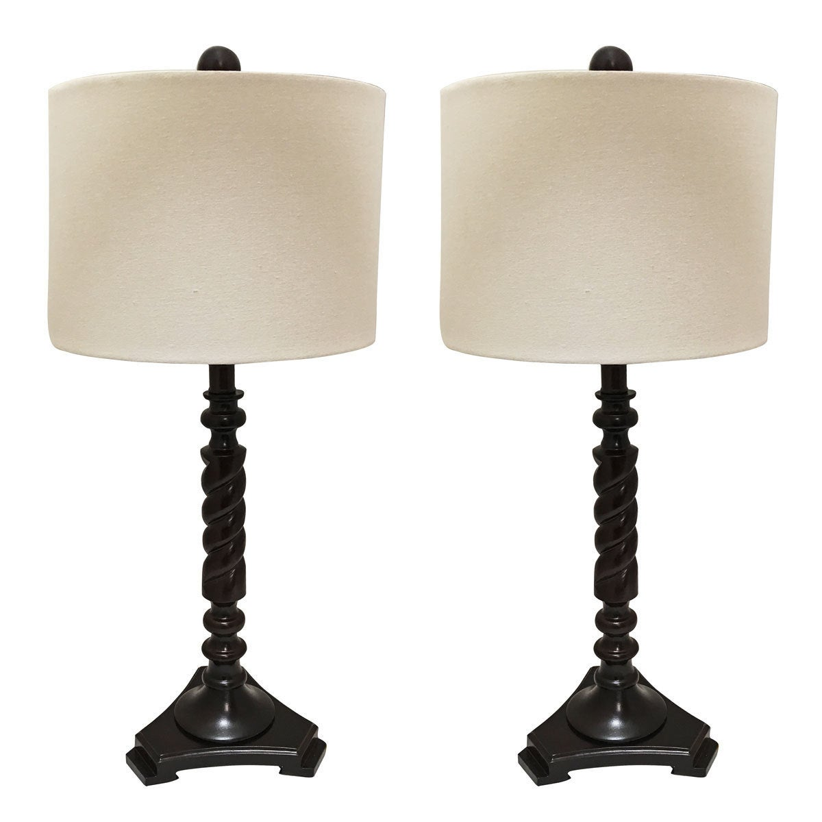 Royal Designs Set Of 2 Wooden Table Lamps With Linen Eggshell Hard Back Lamp Shade 28 Tall