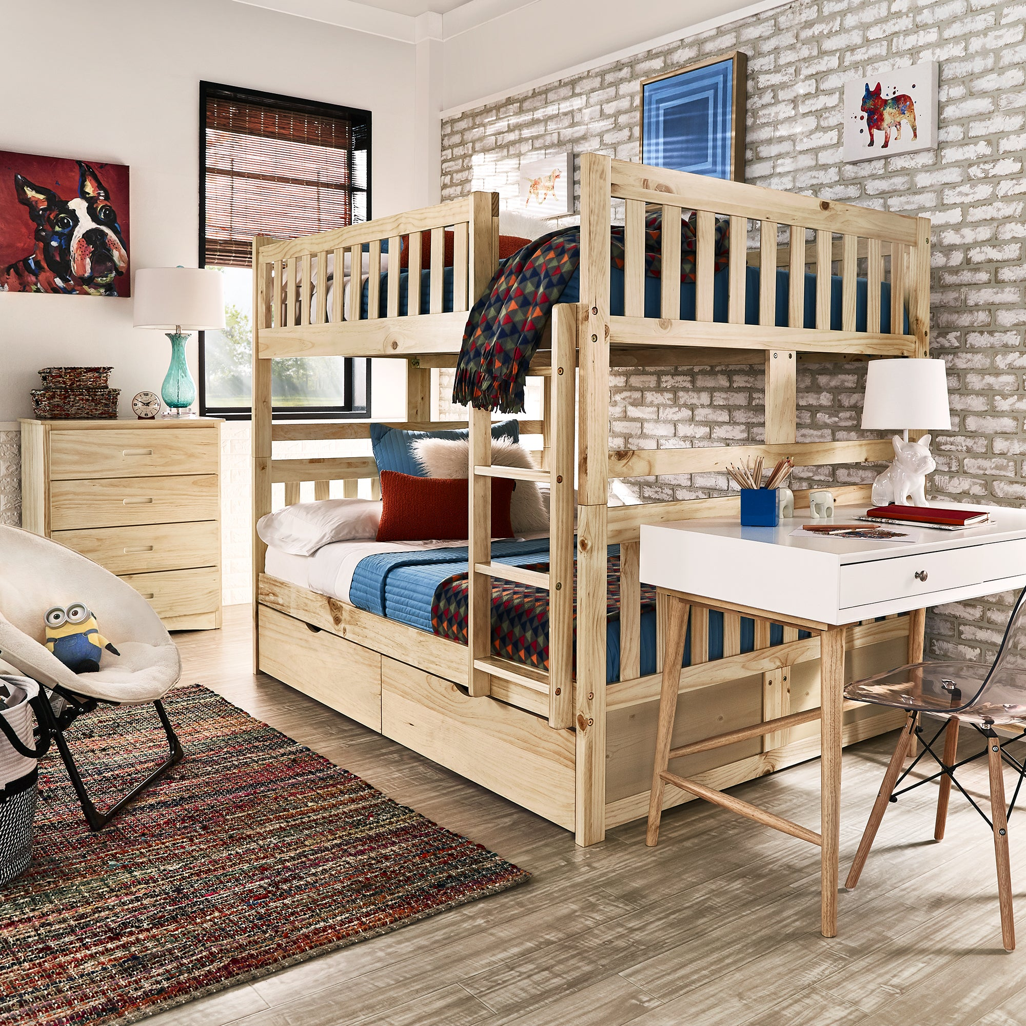 Shop Hunter Full Over Full Natural Wood Bunk Bed By Inspire Q Junior
