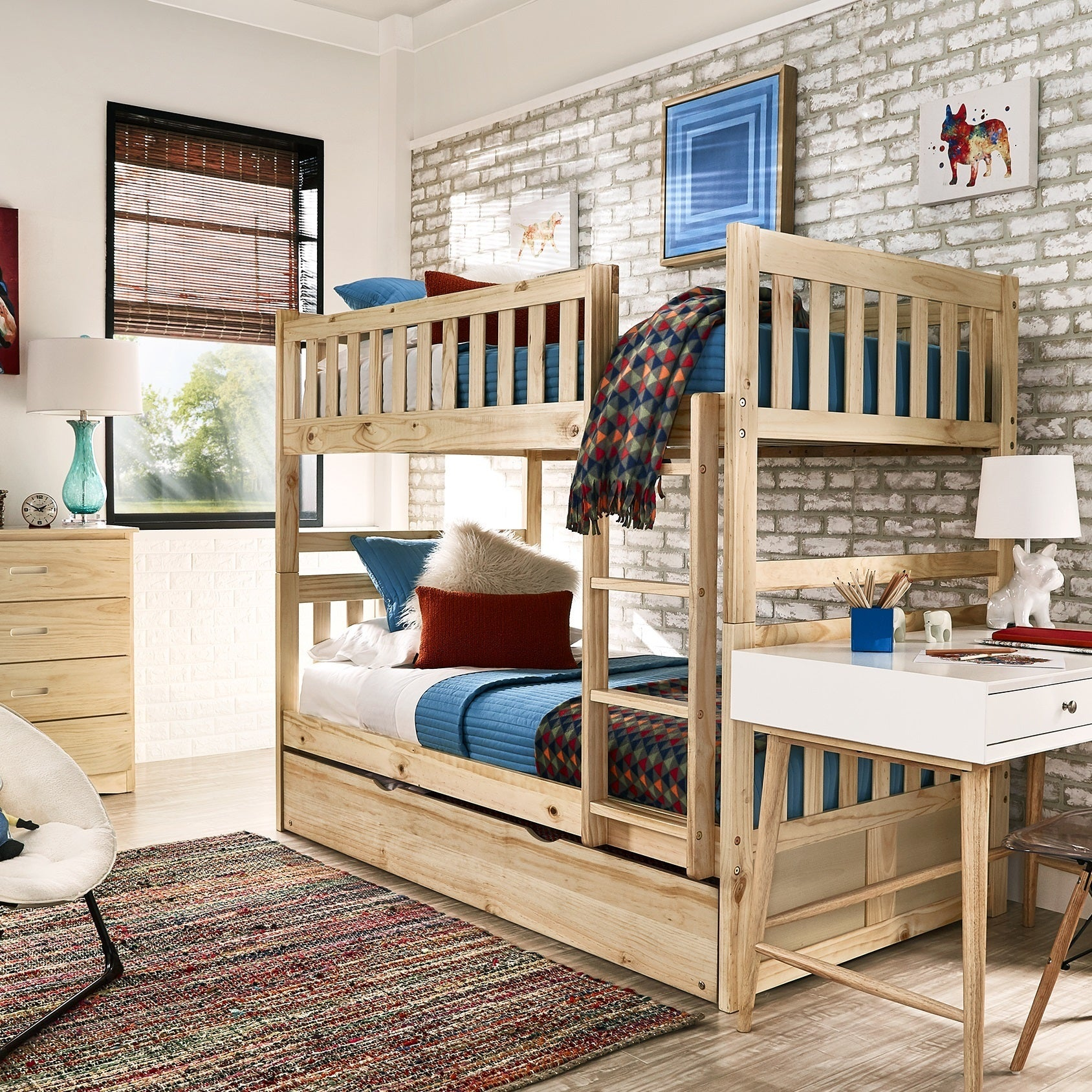 Hunter Twin over Twin Natural Wood Bunk Bed by iNSPIRE Q Junior - Free  Shipping Today - Overstock.com - 25449475